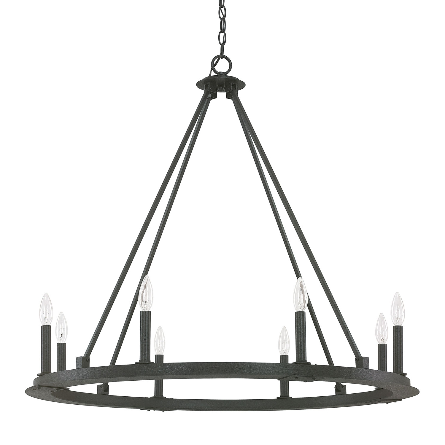 Iron Chandelier With Regard To Most Recently Released Capital Lighting Fixture Company Pearson Black Iron Eight Light (View 12 of 15)