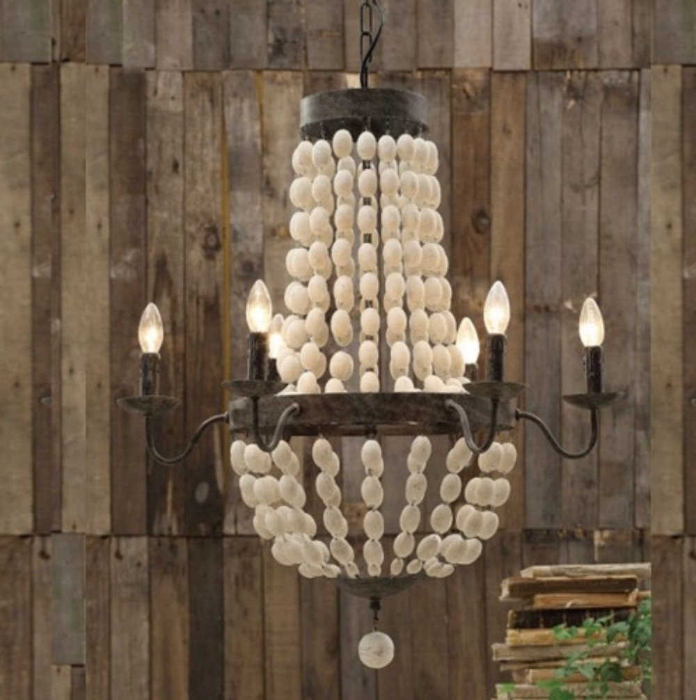 Iron Frame & Wood Wooden Beads Chandelier 6 Lights Large Fixture Wow Intended For Popular Large Iron Chandelier (Gallery 15 of 15)
