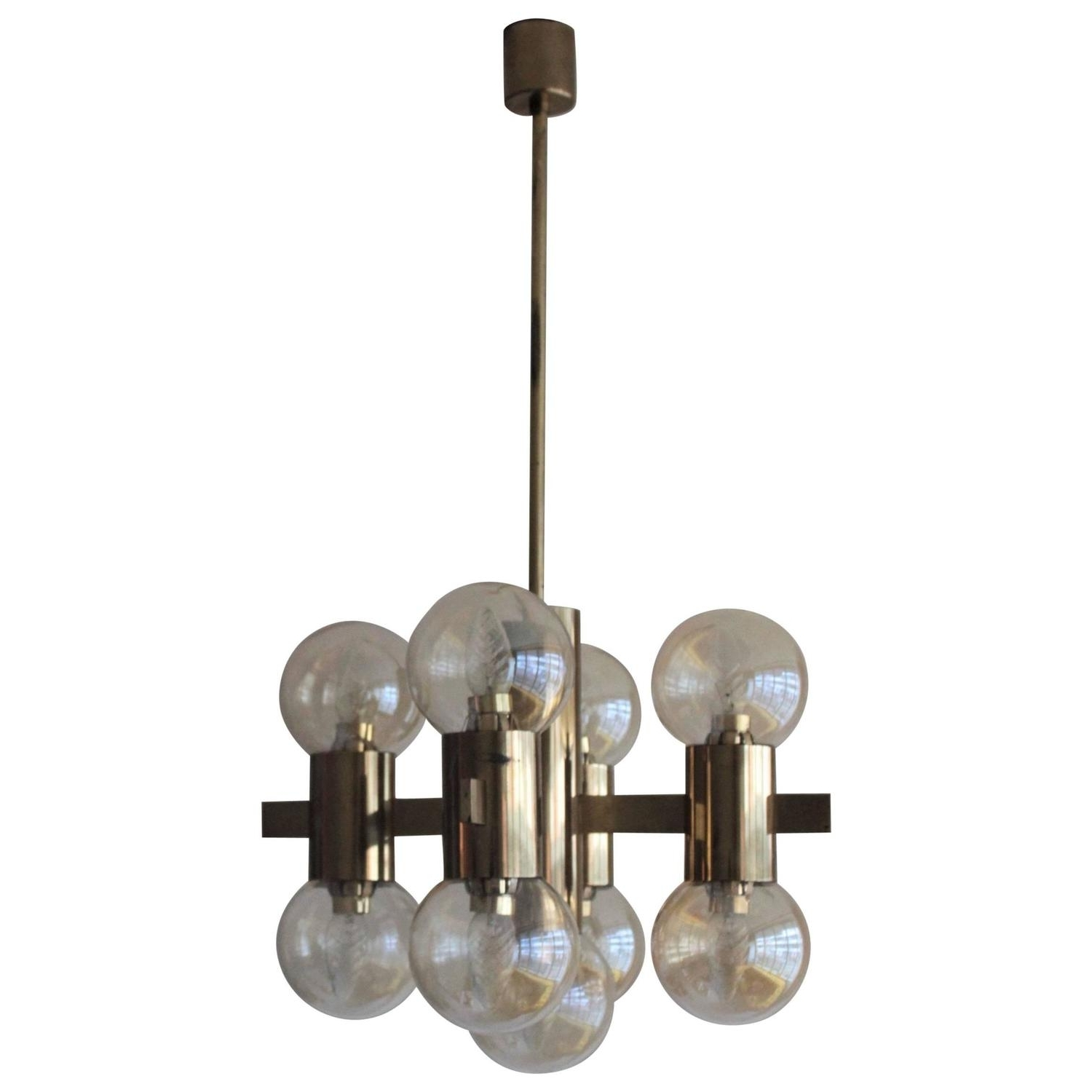 Italian Brass Smoked Glass Chandelier, 1970S For Sale At 1Stdibs Within Most Recent Smoked Glass Chandelier (Gallery 7 of 15)