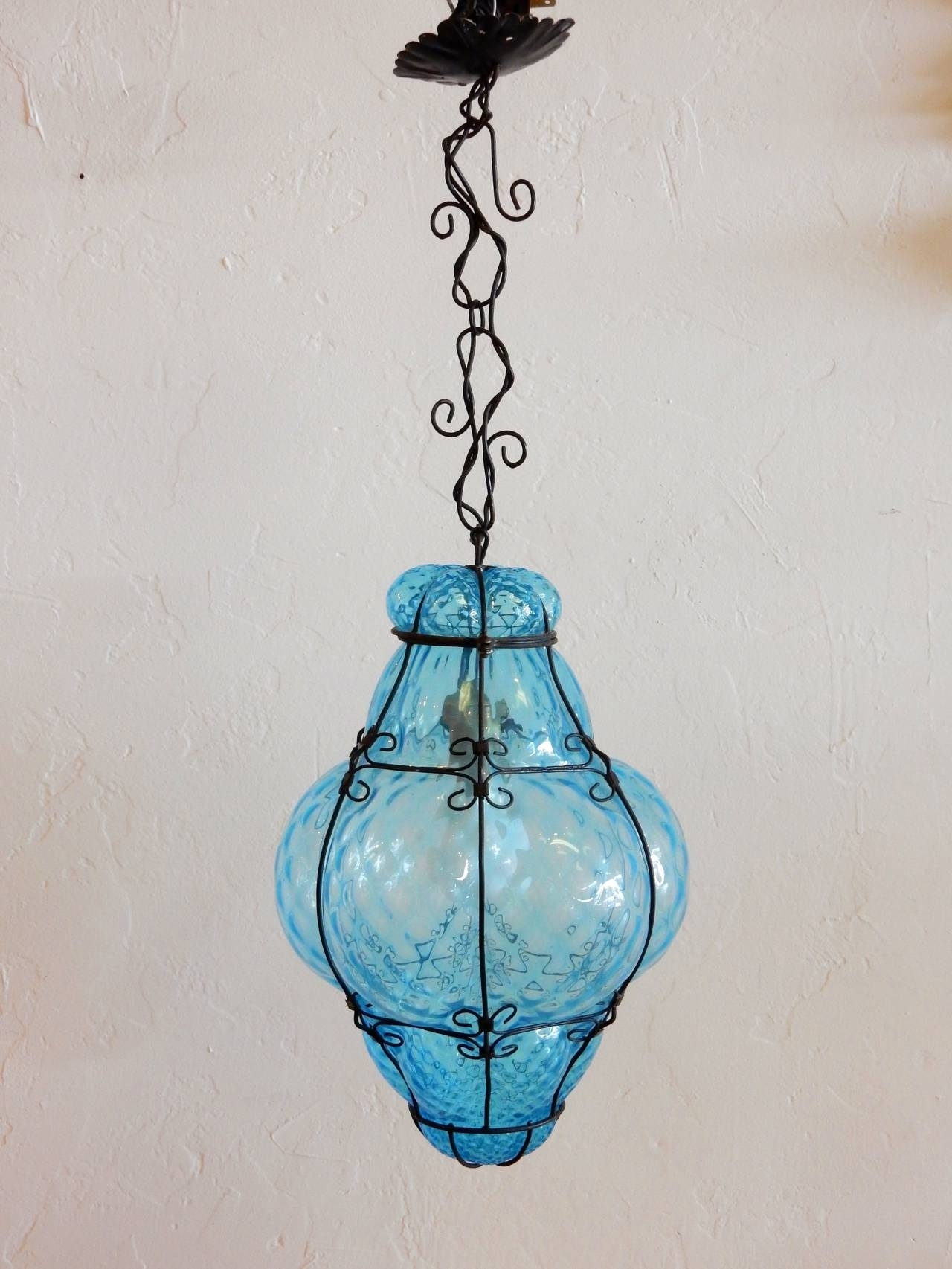 Italian Cage Art Glass Pendant Lampseugso In Aqua Blue At 1Stdibs inside Best and Newest Turquoise Blown Glass Chandeliers