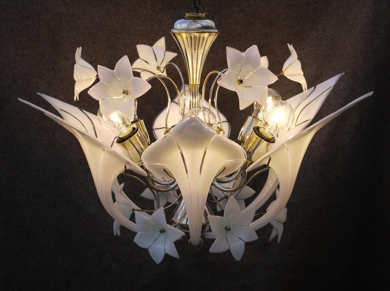 Italian Canna Lily Chandeliermurano For Sale At Pamono With Regard To Well Known Lily Chandeliers (View 6 of 15)