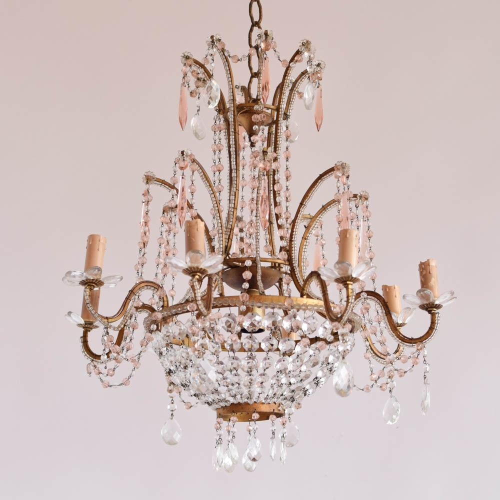 Italian Chandelier W/pink Crystals - The Big Chandelier in Preferred Vintage Italian Chandelier