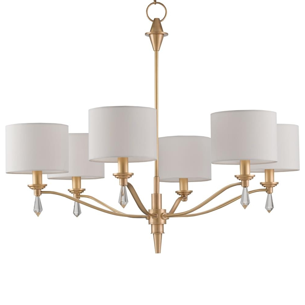 Kim Modern Classic Brushed Gold Crystal Finial 6 Light Chandelier With Regard To Recent Gold Modern Chandelier (View 9 of 15)