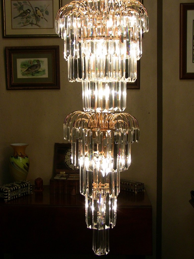 Large Art Deco Chandelier Intended For Trendy Art Deco Style Multi Layered Swarofski Crystal Chandelier Extra (View 2 of 15)