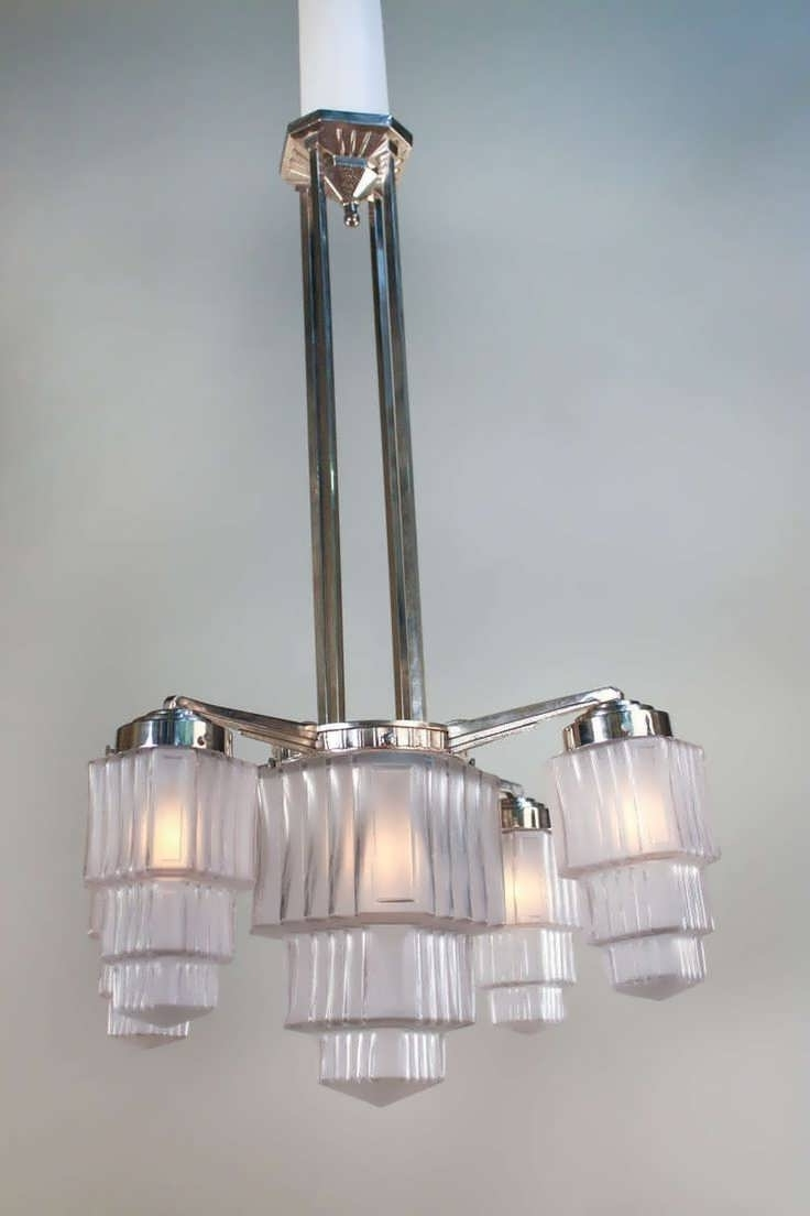 Large Art Deco Chandelier Pertaining To Current Chandelier : Art Deco Bathroom Wall Lights Art Deco Crystal (View 7 of 15)