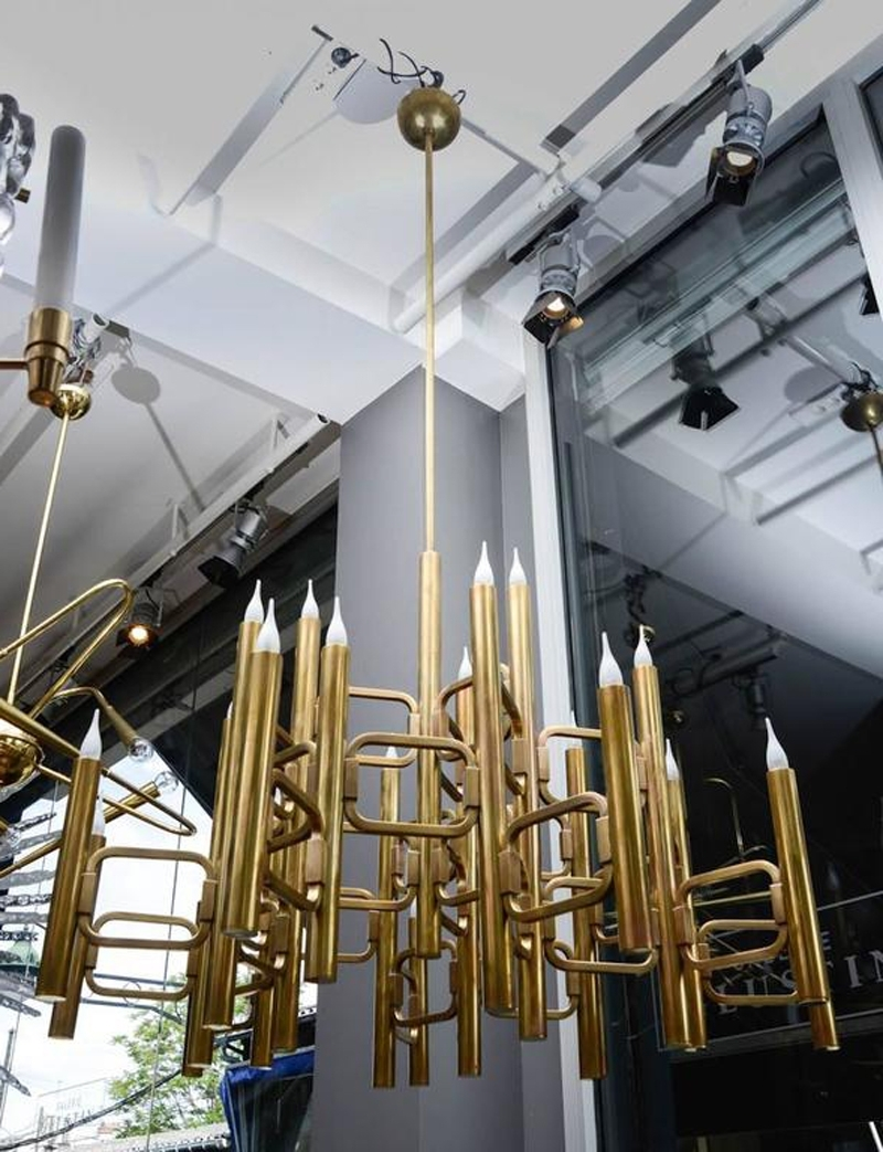 Large Brass Chandelier Intended For Most Popular Mid Century Italian Large Brass Chandelier With 21 Lightsgaetano (View 6 of 15)