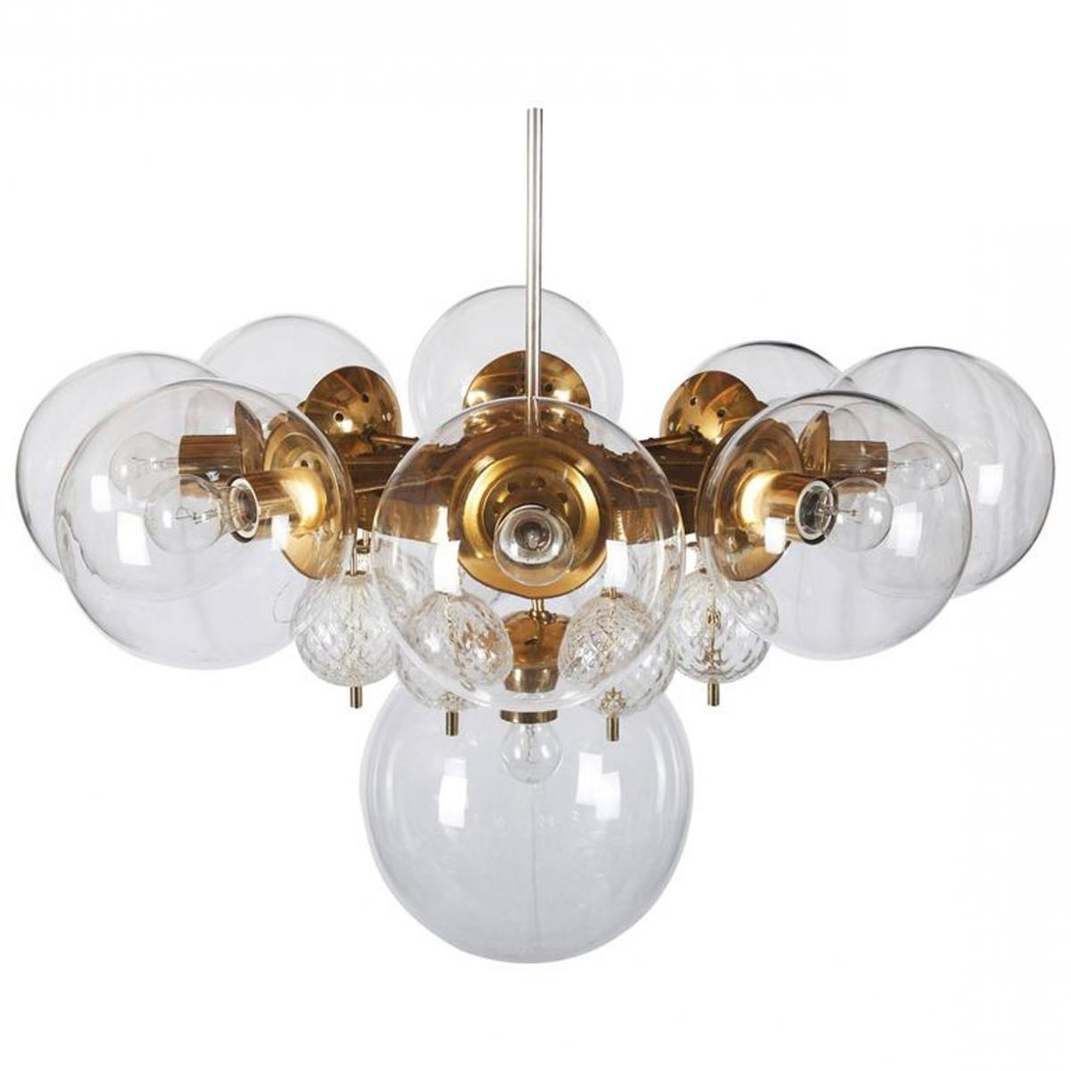 Large Brass Chandelier With Crystal Globes From Kamenicky Senov Pertaining To Popular Large Brass Chandelier (View 7 of 15)