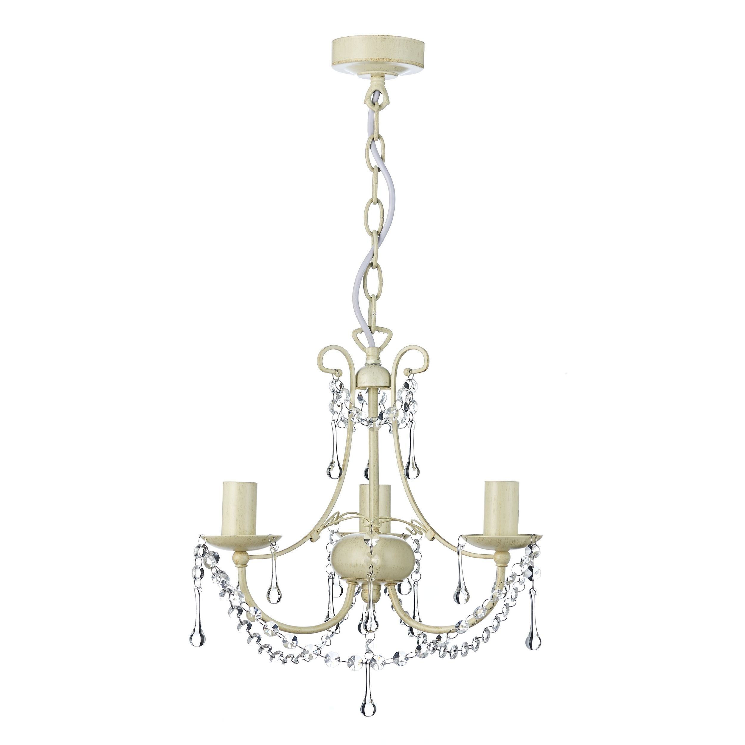 Large Cream Chandelier For Well Known Chella Cream 3 Light Chandelier (View 8 of 15)