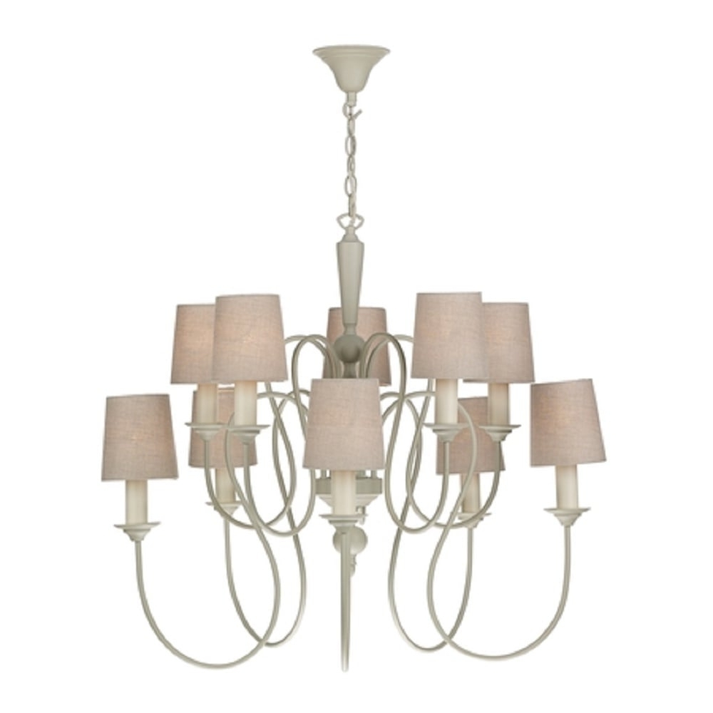 Large Edwardian Cream Painted Chandelier, 10 Candle Light With Shades Regarding Popular Large Cream Chandelier (View 11 of 15)