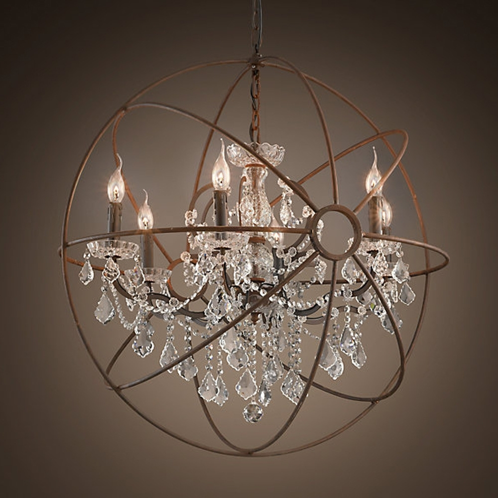 Large Globe Chandelier For Widely Used Chandeliers Design : Magnificent Rustic Orb Chandelier Crystals (View 3 of 15)