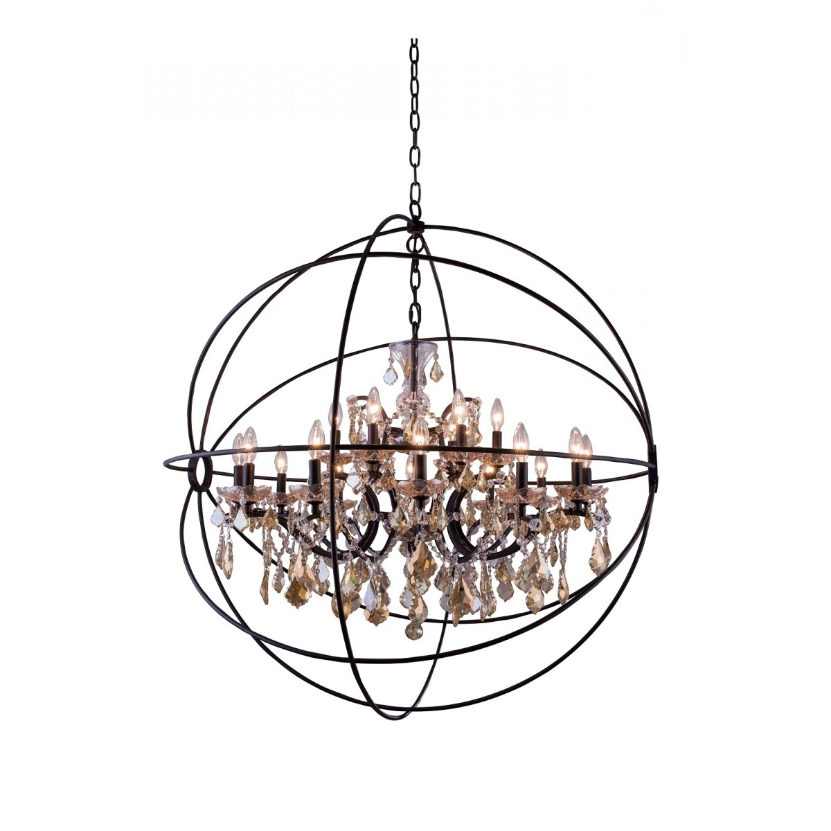 Large Globe Chandelier In Most Popular Lighting: Large Bronze Iron Crystal Orb Chandelier With 15 Light For (View 7 of 15)