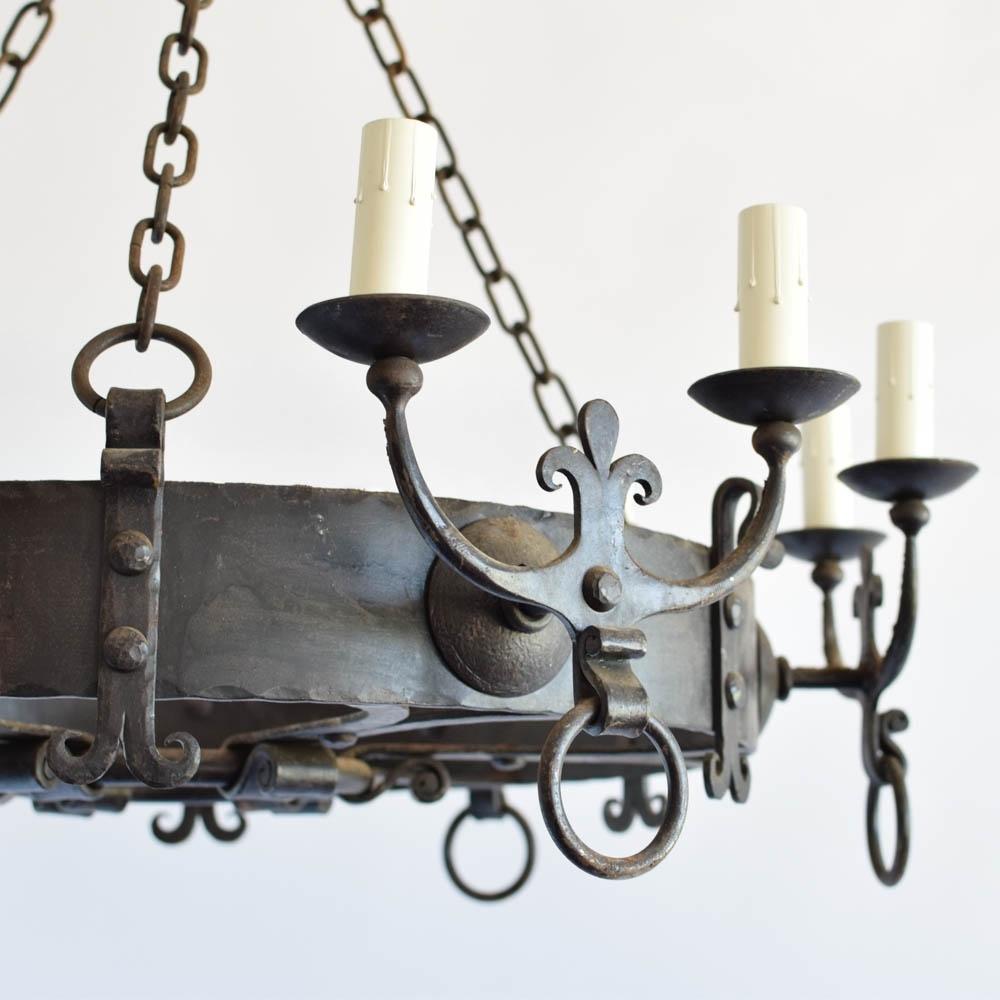Large Iron Chandelier W/fleur De Lis Arms – The Big Chandelier With Regard To Recent Large Iron Chandelier (View 8 of 15)