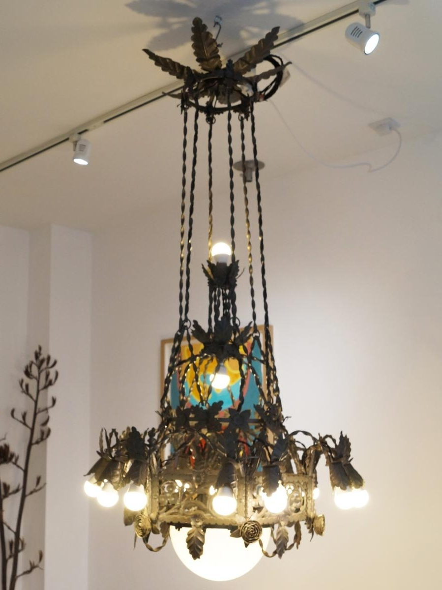 Large Iron Chandelier With 2017 Large Vintage Gothic Revival Wrought Iron Chandelier For Sale At Pamono (View 11 of 15)