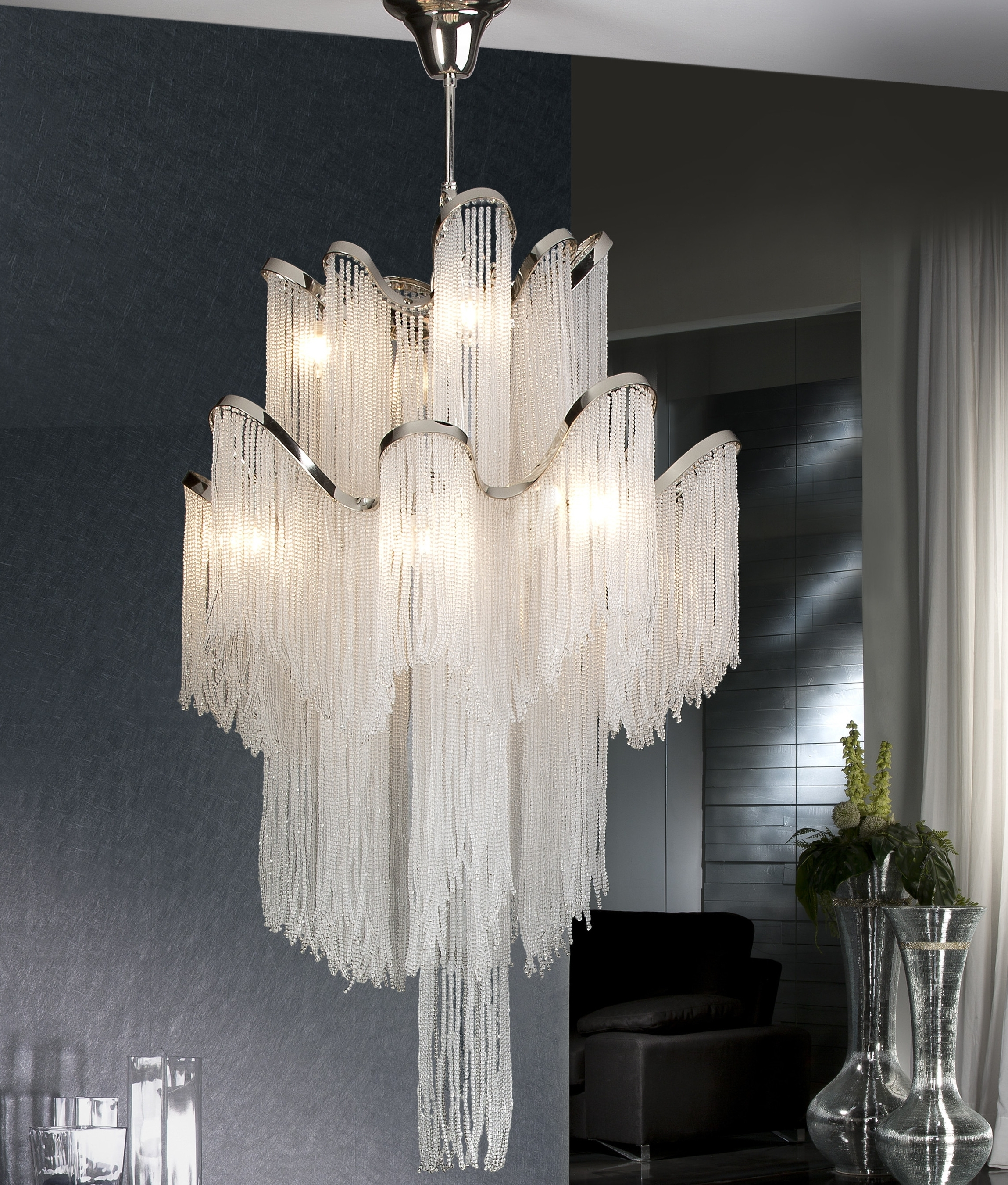 Large Long Drop Crystal Feature Light intended for Fashionable Long Chandelier Lights