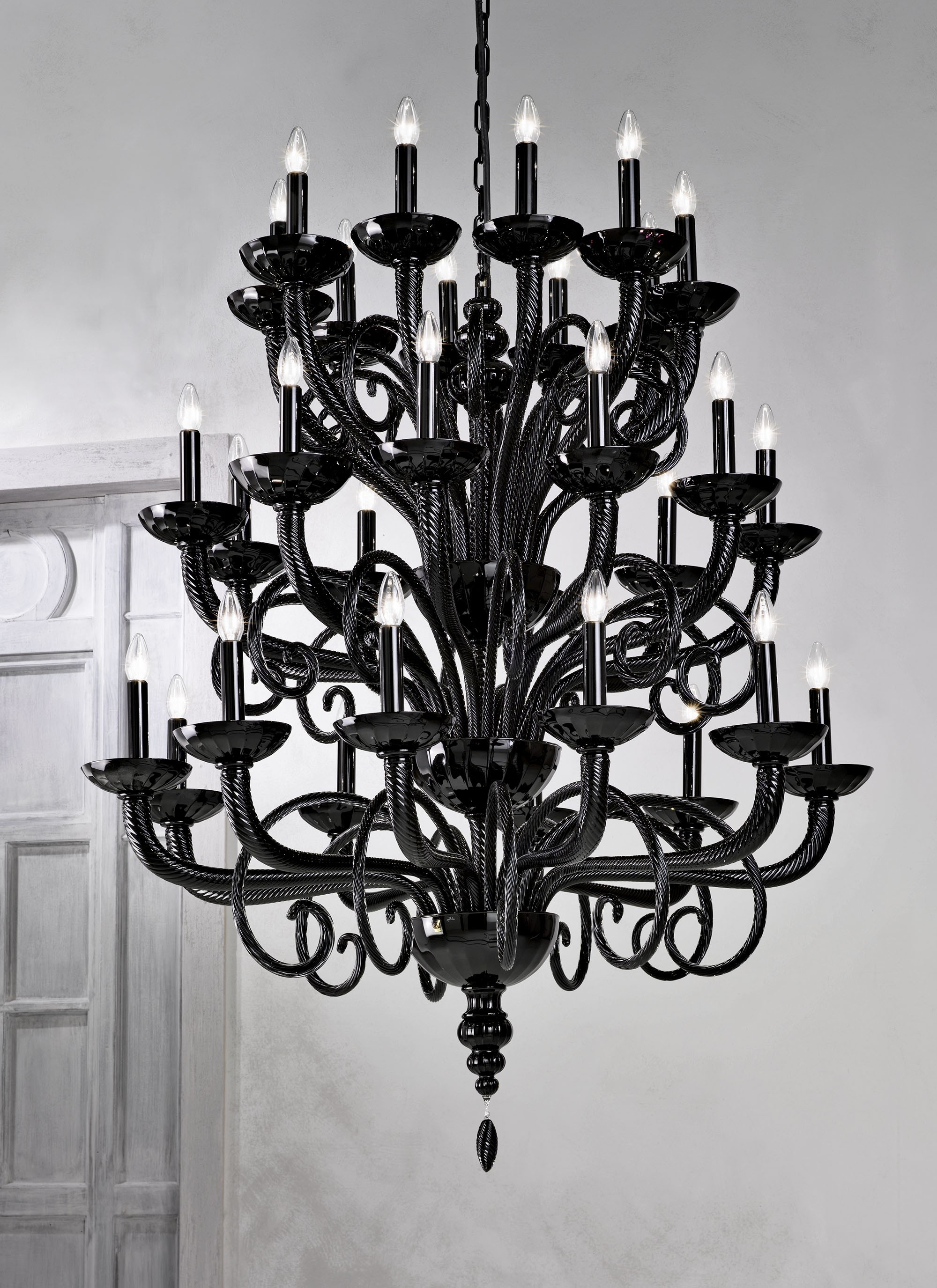 Large Traditional Black Grand Murano Chandelier L6011K30 – Murano Intended For Fashionable Large Black Chandelier (View 7 of 15)