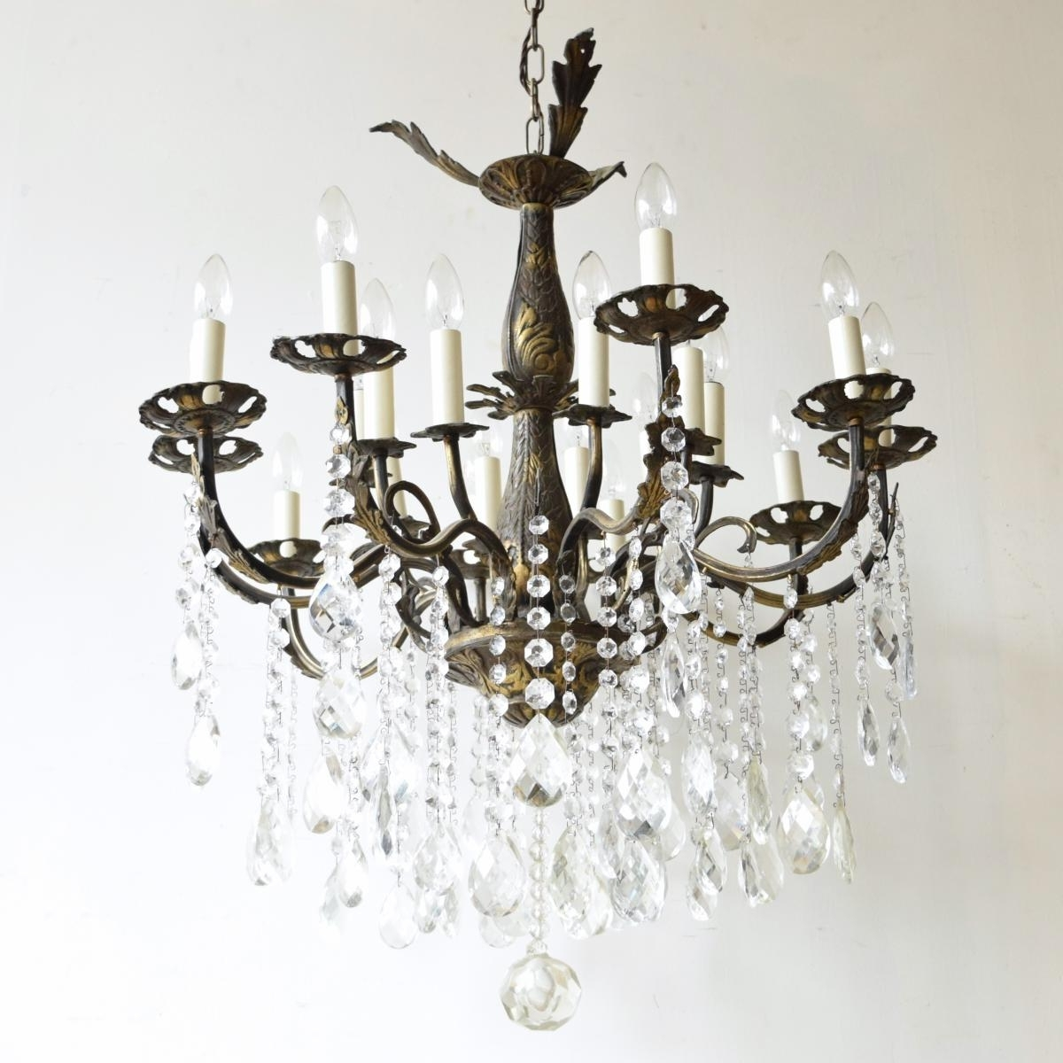 Large Vintage French 16 Light Brass Chandelier For Sale At Pamono For Newest Large Brass Chandelier (View 8 of 15)