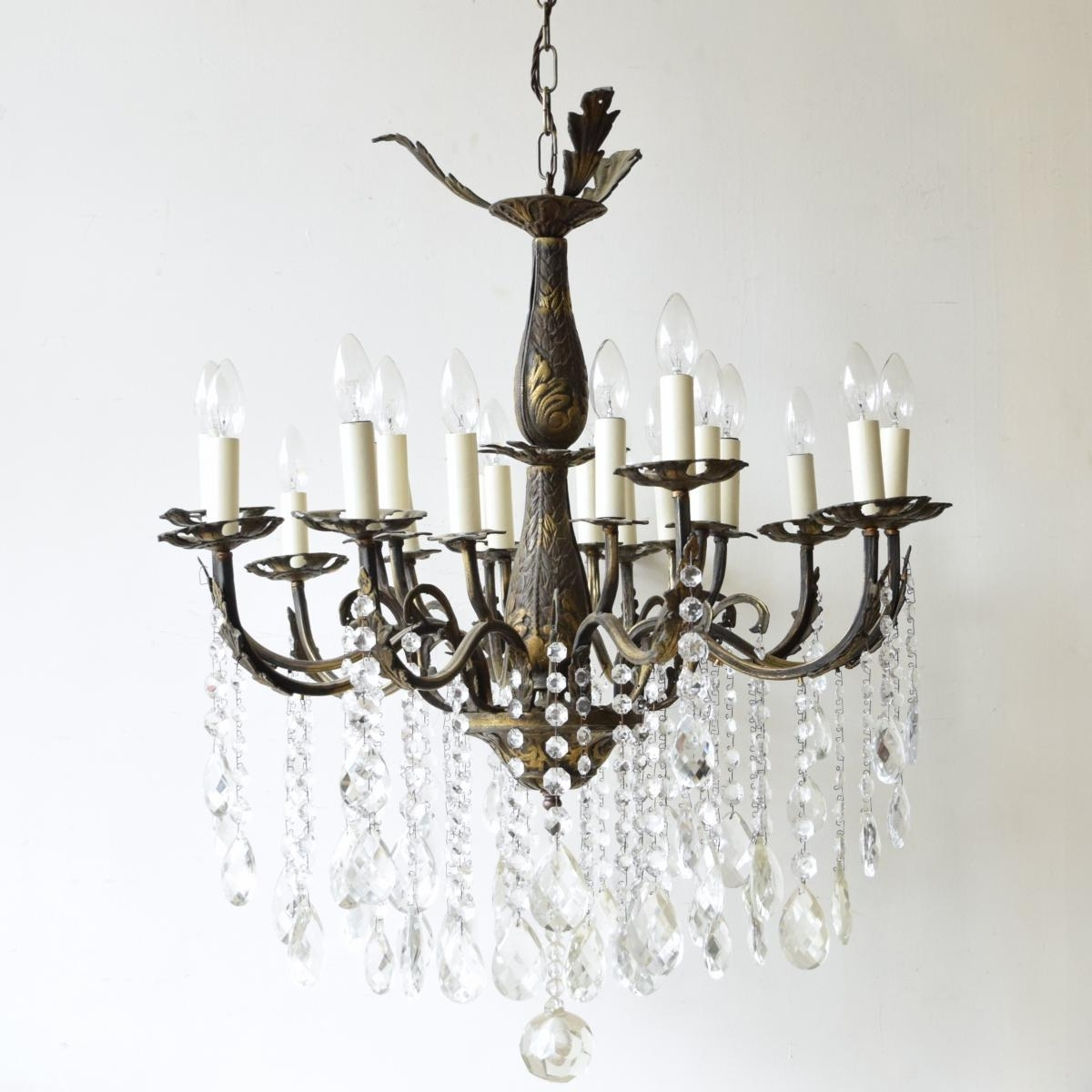 Large Vintage French 16 Light Brass Chandelier For Sale At Pamono With Popular Vintage Brass Chandeliers (View 8 of 15)