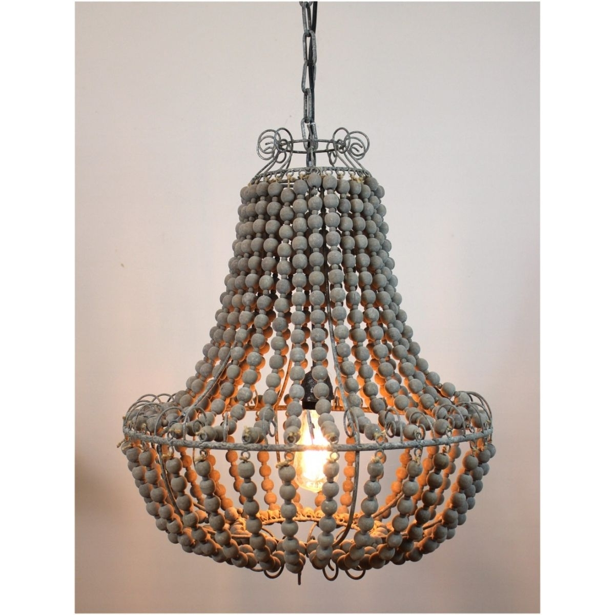 Latest Aged Wooden Beaded Big Chandelier Hand Made Lighting Fixture Ceiling Regarding Vintage Style Chandeliers (View 5 of 15)