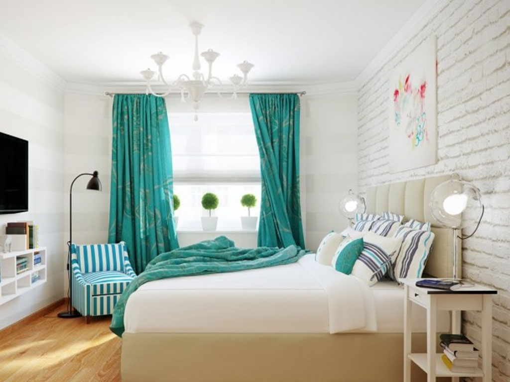 Latest Bedroom : Captivating Bedroom Design With Turquoise Floral Curtain Inside Turquoise Bedroom Chandeliers (View 6 of 15)
