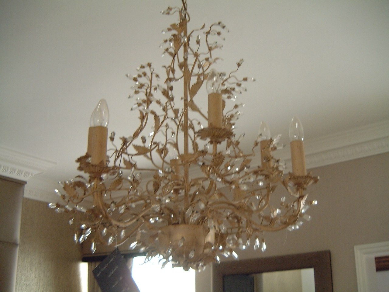 Latest Cream And Gold Leaf Chandelier – Hampton Court Interiors Intended For Gold Leaf Chandelier (View 11 of 15)