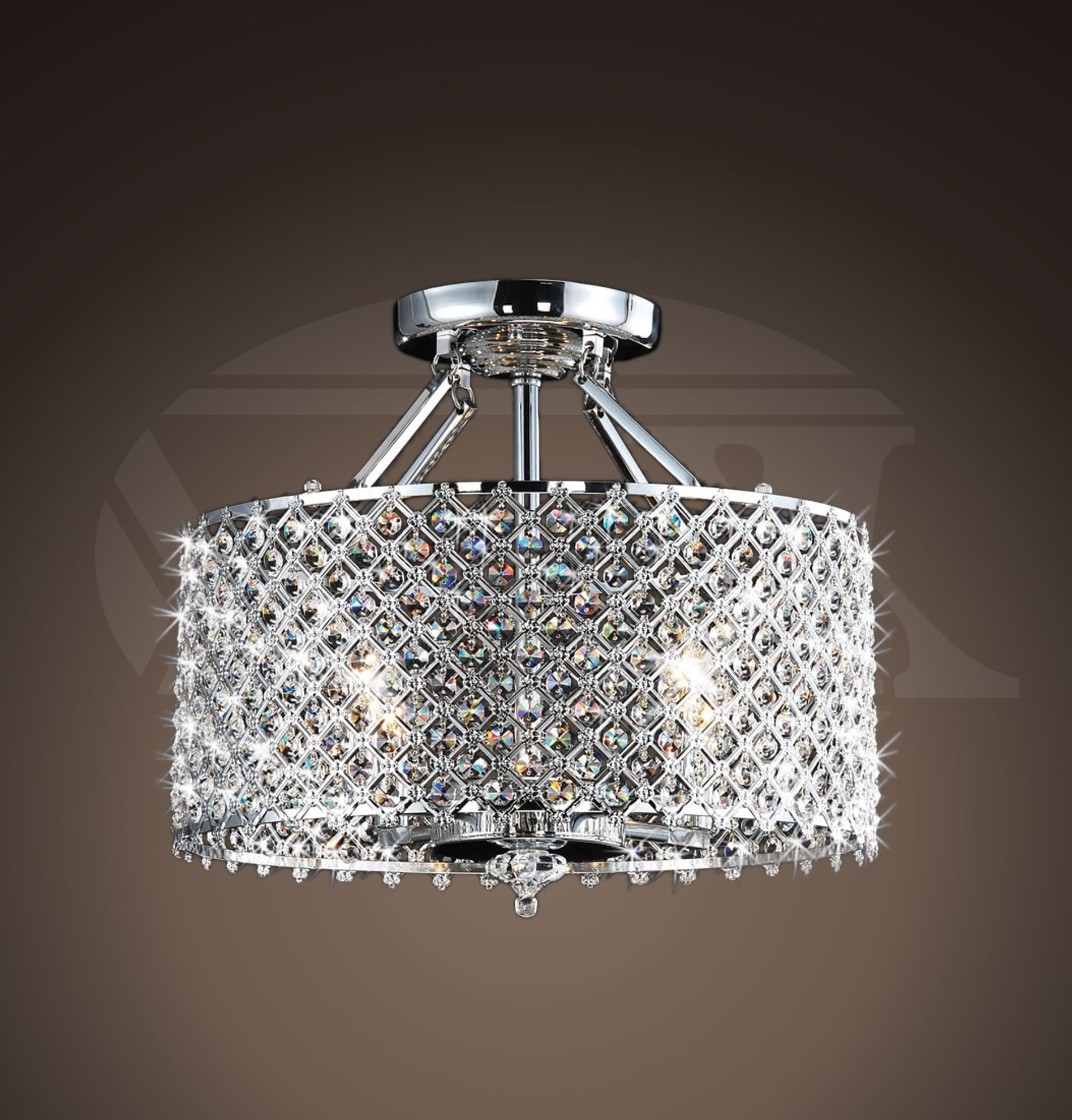 Latest Flush Chandelier Within Helina Chrome And Crystal 4 Light Round Ceiling Flush Mount (View 4 of 15)