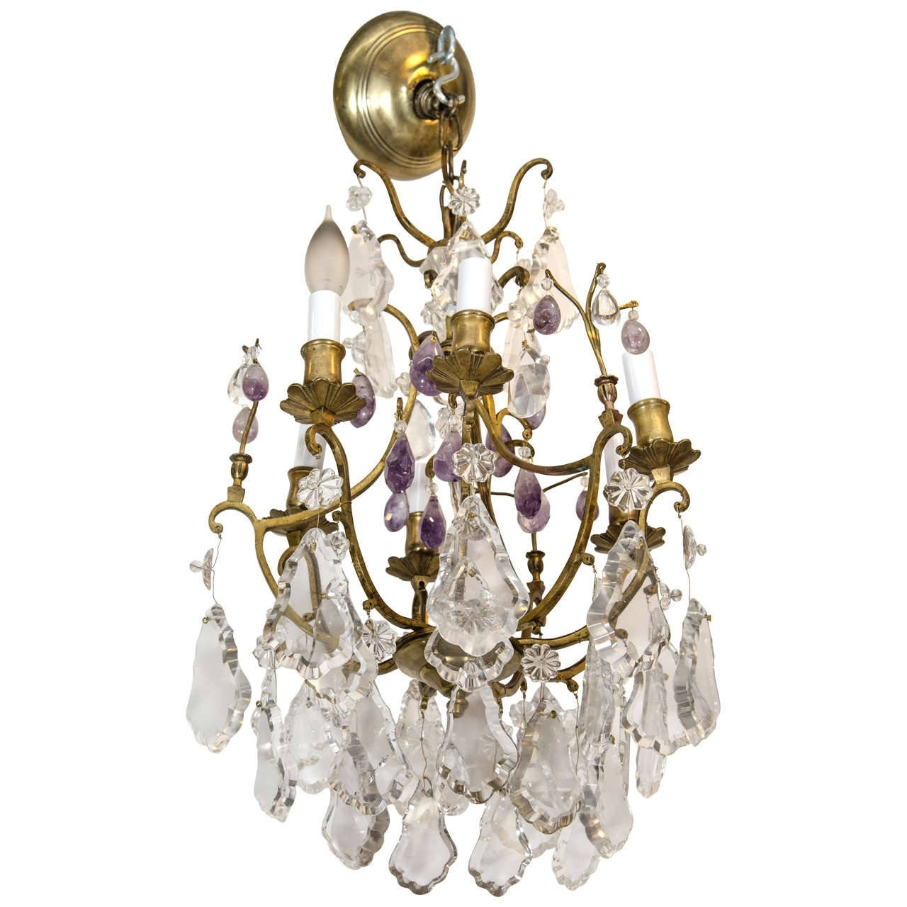 Latest Gilded Bronze And Rock Crystal Chandelier With Purple Amethyst After Pertaining To Purple Crystal Chandelier Lights (View 5 of 15)