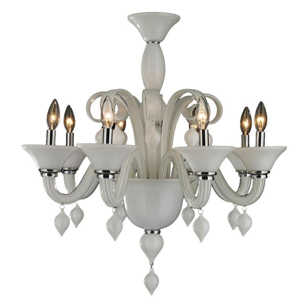 Latest Glass Chandelier For Worldwide Lighting Murano Venetian Style 8 Light White Blown Glass (View 7 of 15)
