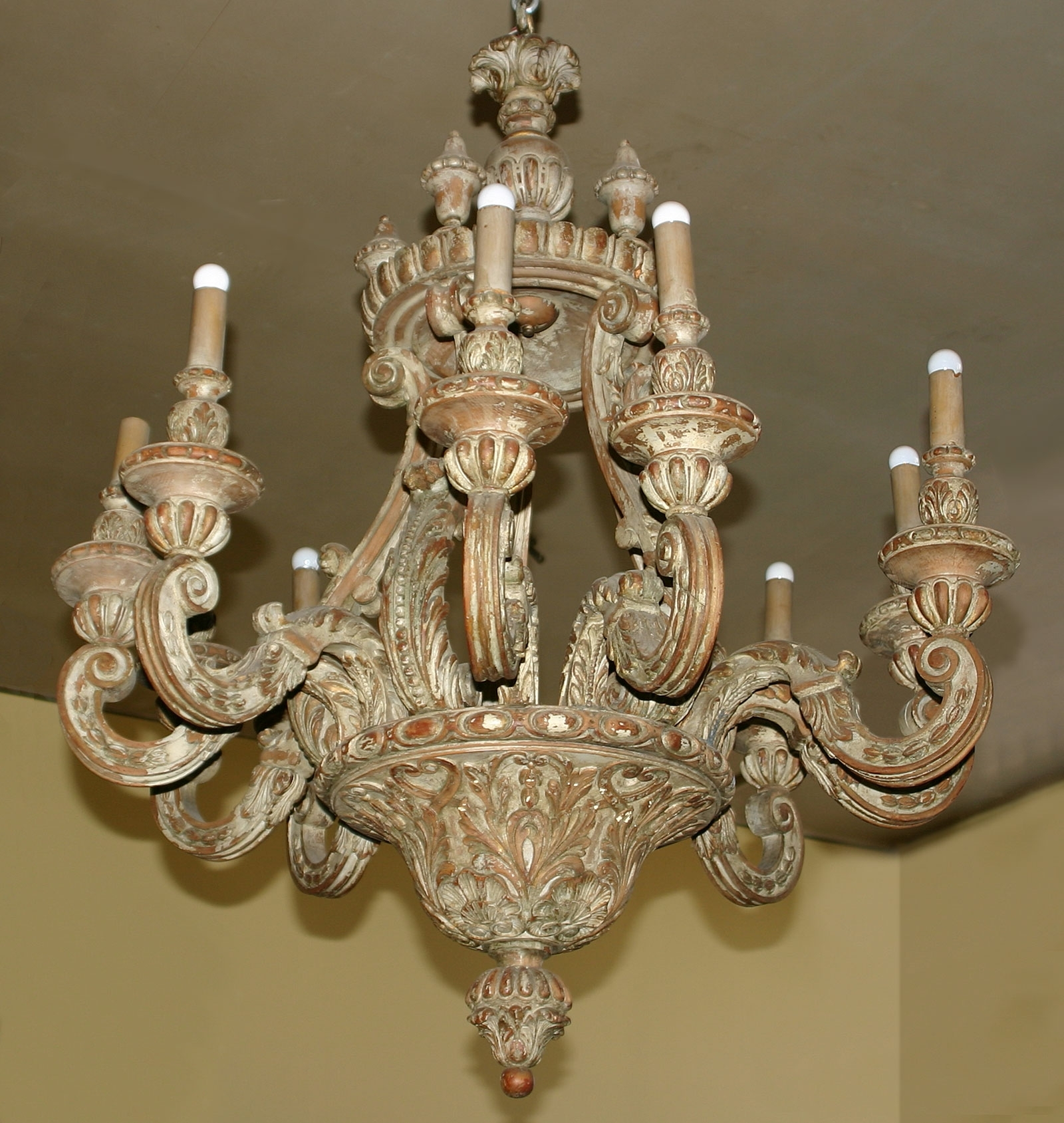Latest Italian Chandeliers Style Within Baroque Style, Painted Pine, Ten Light Chandelier (View 10 of 15)