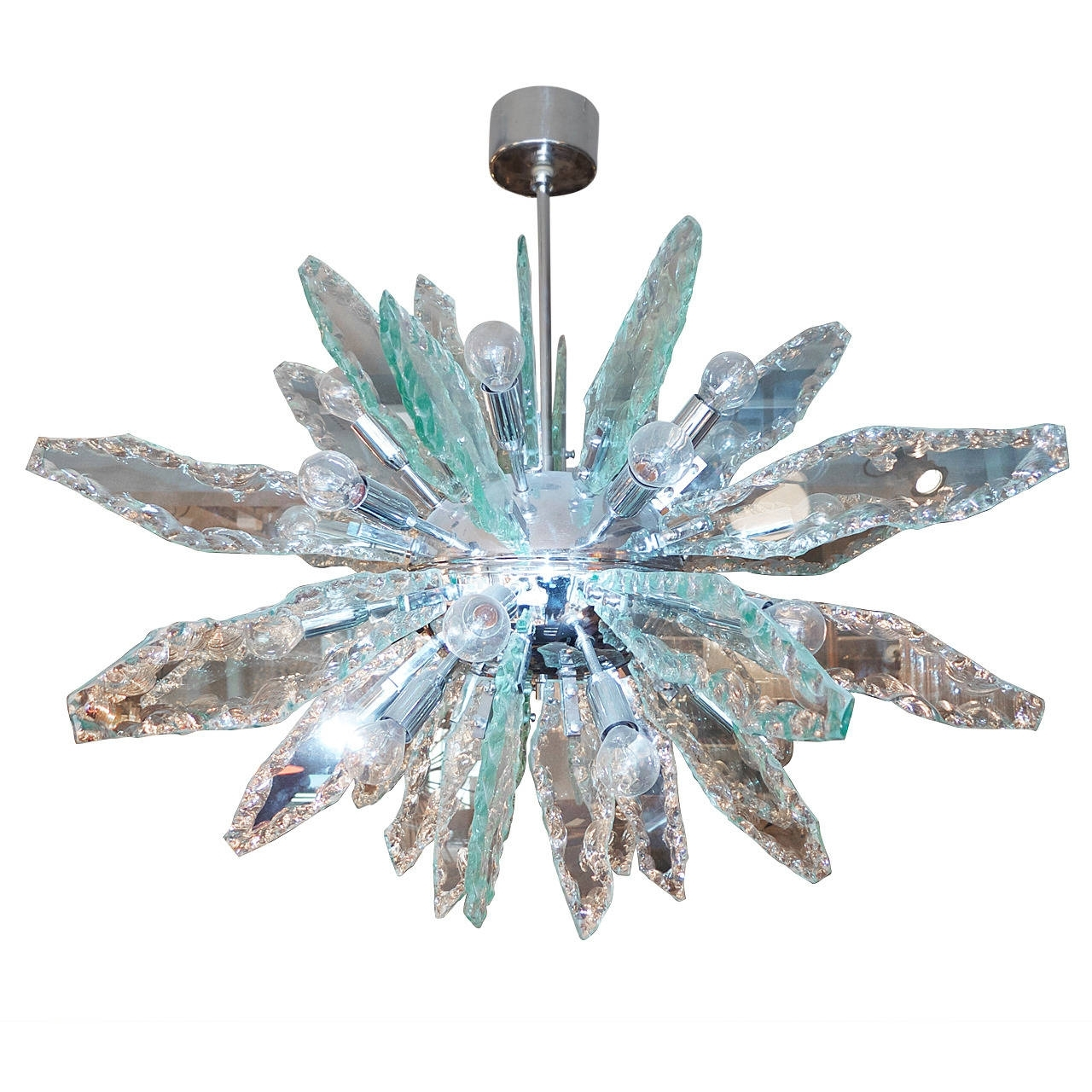 Latest Italian Glass And Chrome Sputnik Chandelier Fontana Arte Style At Inside Italian Chandeliers Style (View 11 of 15)