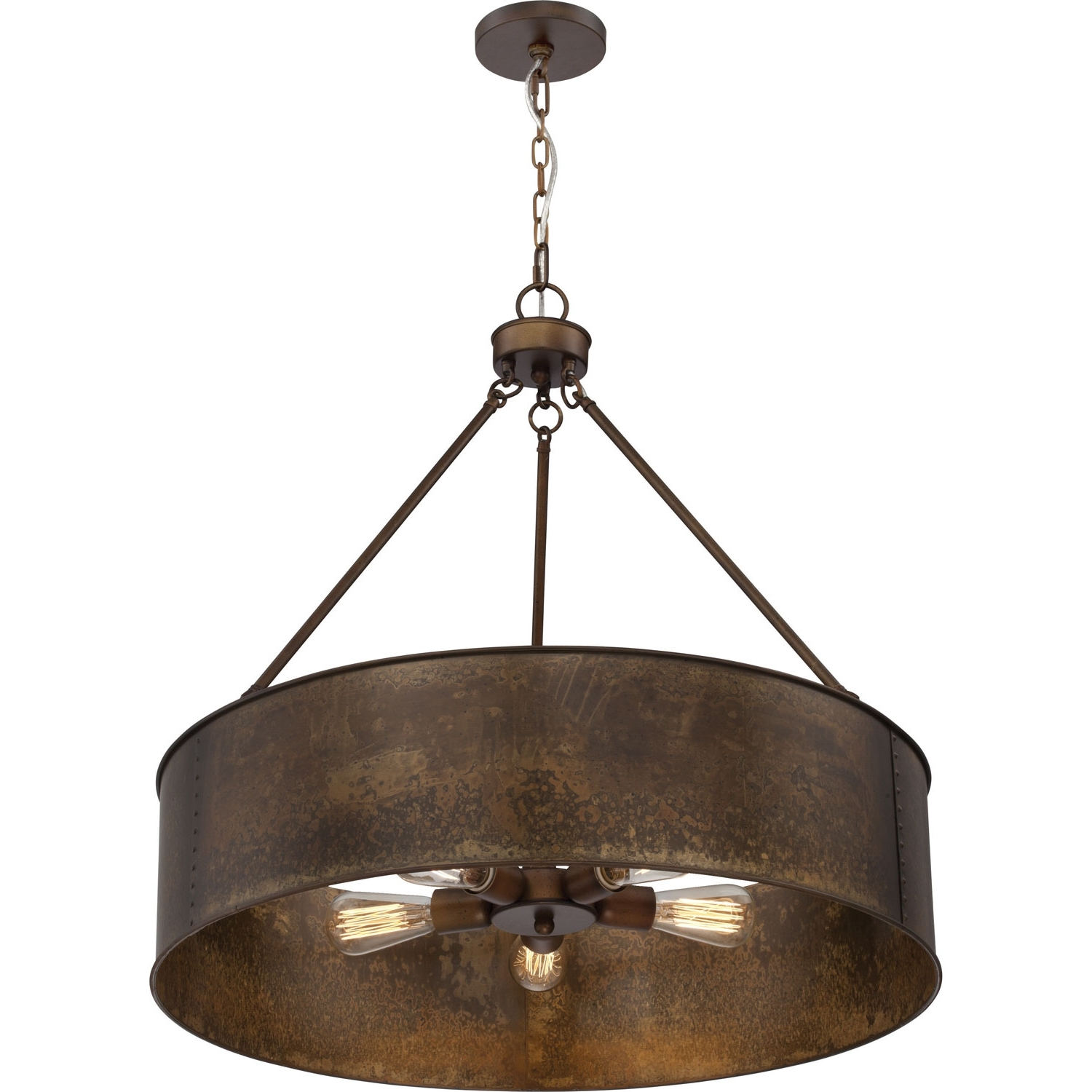 Latest Metal Drum Chandeliers For 251 First River Station Weathered Brass Five Light Industrial Drum (View 6 of 15)