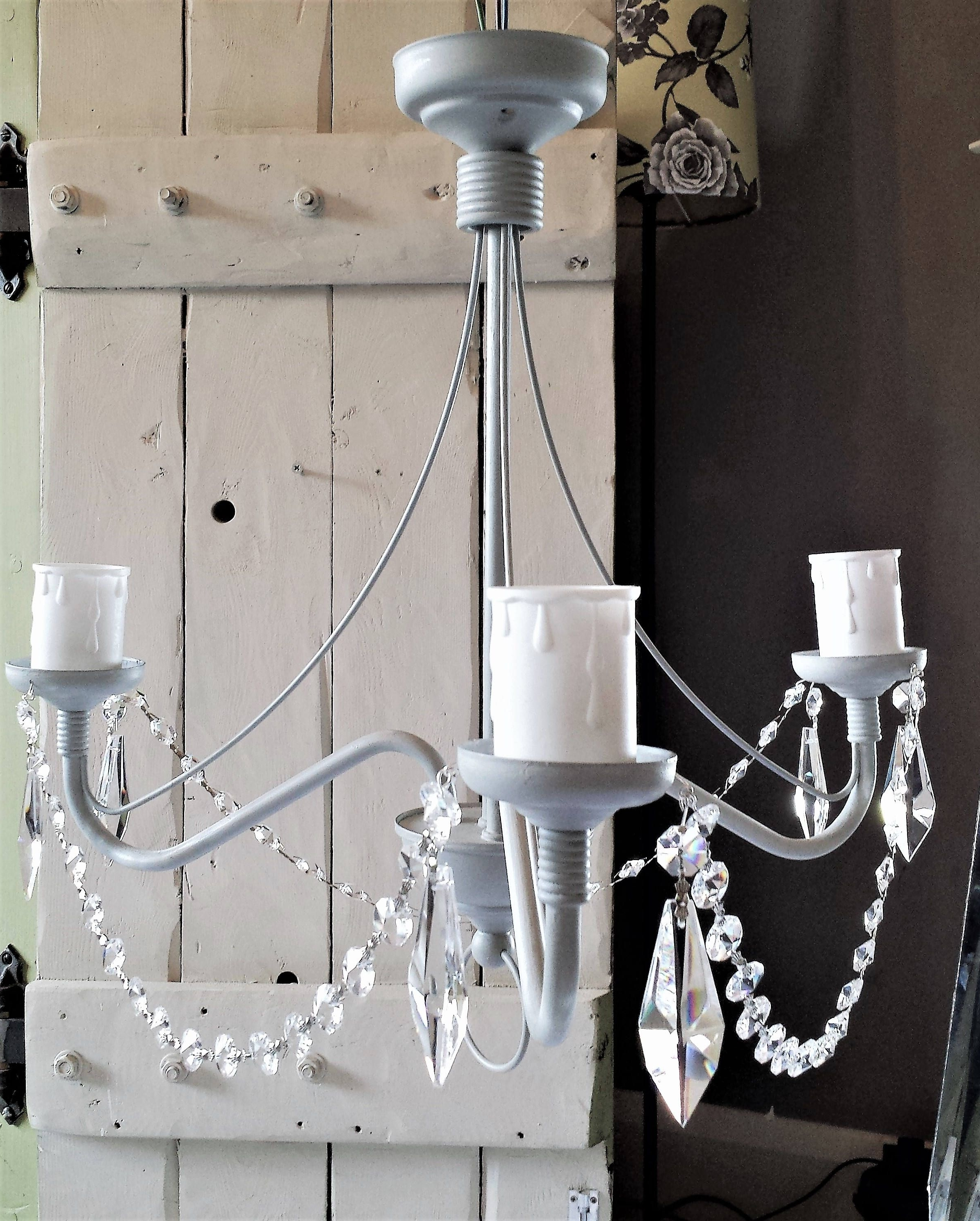Latest Paris Grey Chandelier Light Fixture, Upcycled Shabby Chic Flush Throughout Grey Chandeliers (View 11 of 15)