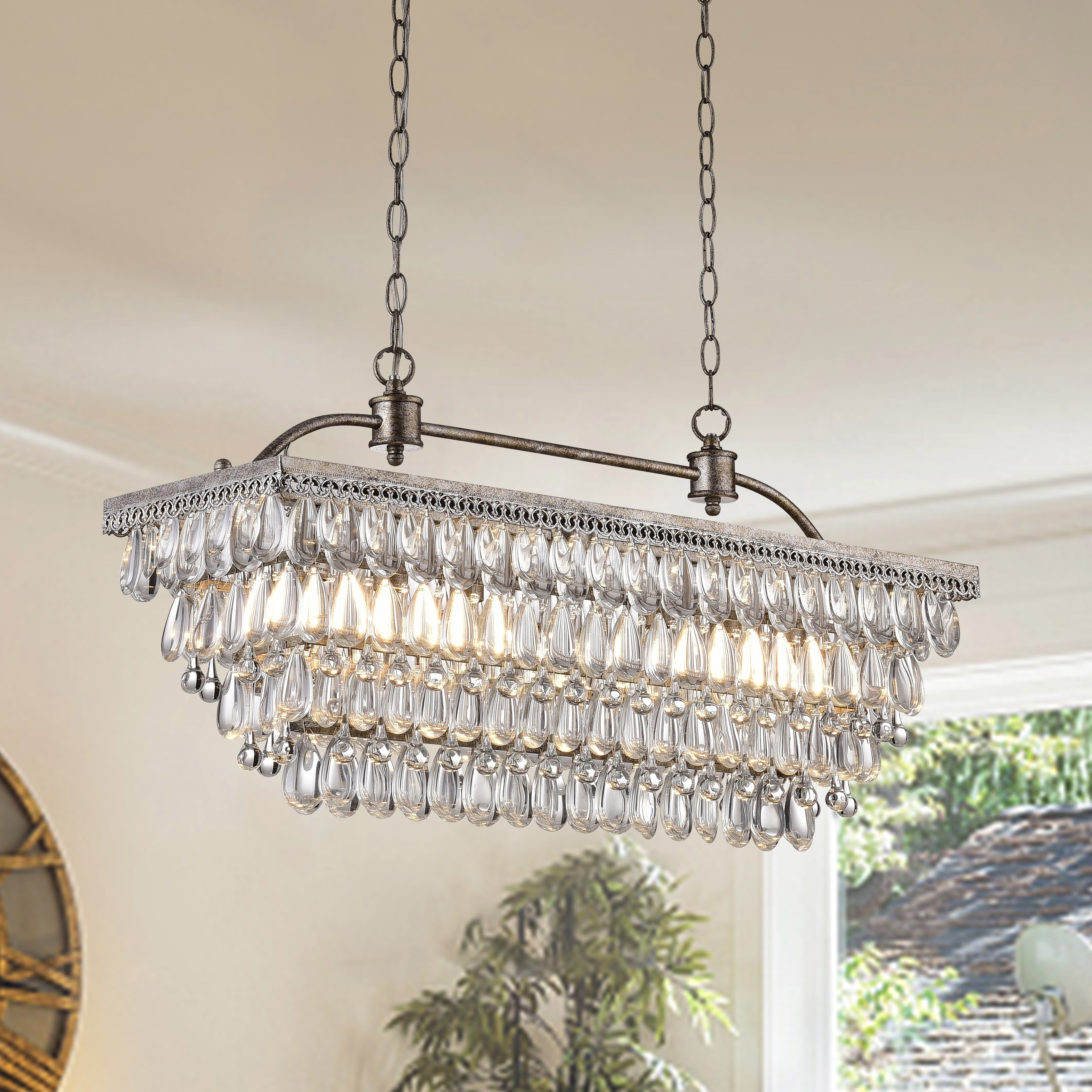 Latest Silver Orchid Taylor Antique Silver 6 Light Rectangular Glass Intended For Glass Droplet Chandelier (View 10 of 15)