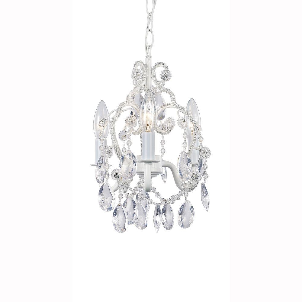 Latest Small White Chandeliers With Hampton Bay 3 Light White Mini Chandelier With Crystal Drops And (View 10 of 15)