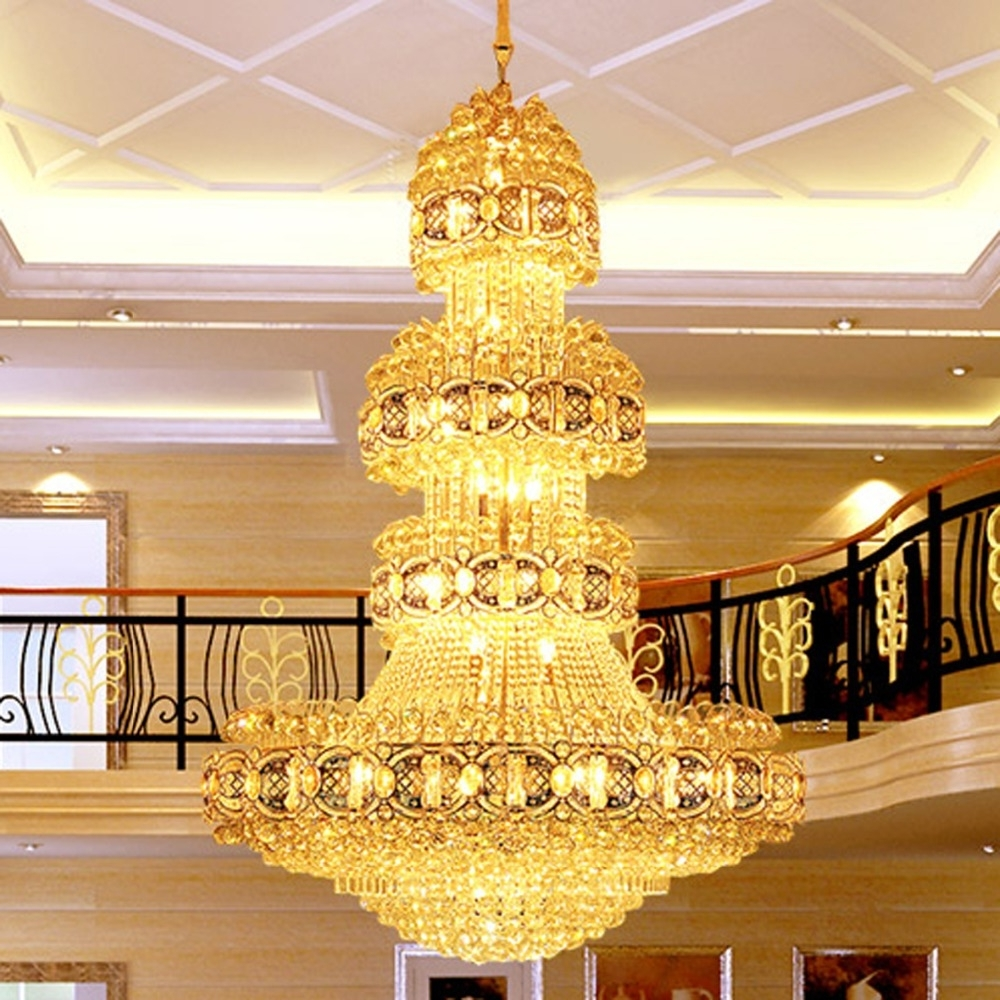 Led Crystal Chandeliers Lighting Fixture Gold Crystal Chandelier Big Inside Most Current Hotel Chandelier (View 14 of 15)