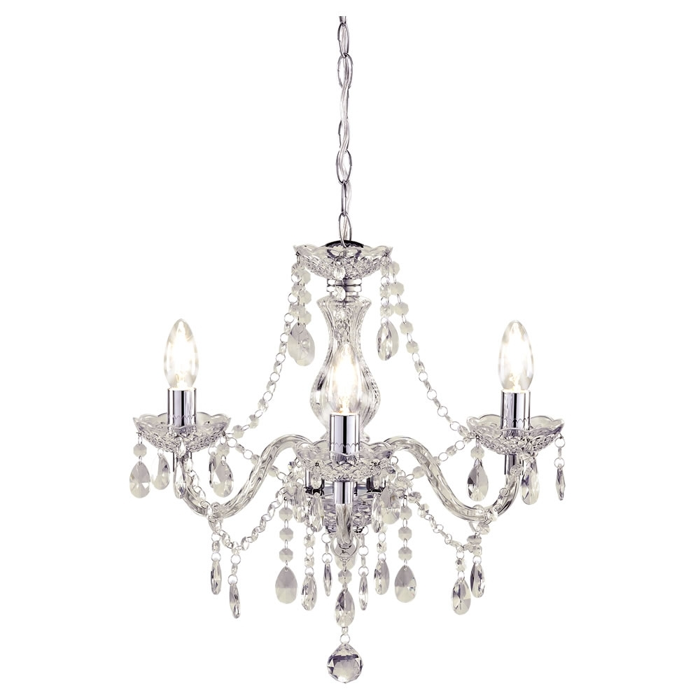 Light Fitting Chandeliers throughout Latest Marie Therese Chandelier 3 Arm Clear