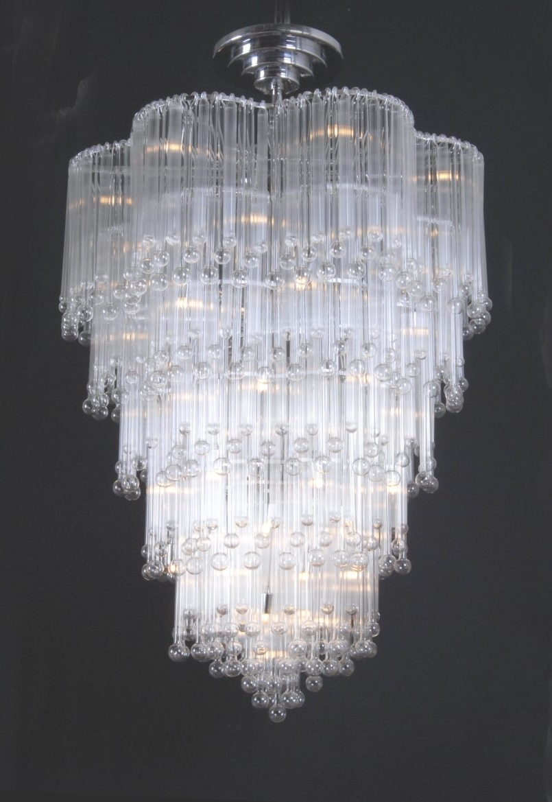 Light : Mesmerizing White Crystal Chandelier Stainless Steel With Inside Widely Used Large Glass Chandelier (View 9 of 15)