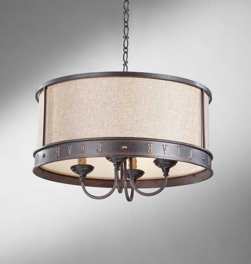 Lighting: Fabric Drum Shade Chandelier And Crystal Chandelier With Intended For Best And Newest Fabric Drum Shade Chandeliers (View 6 of 15)