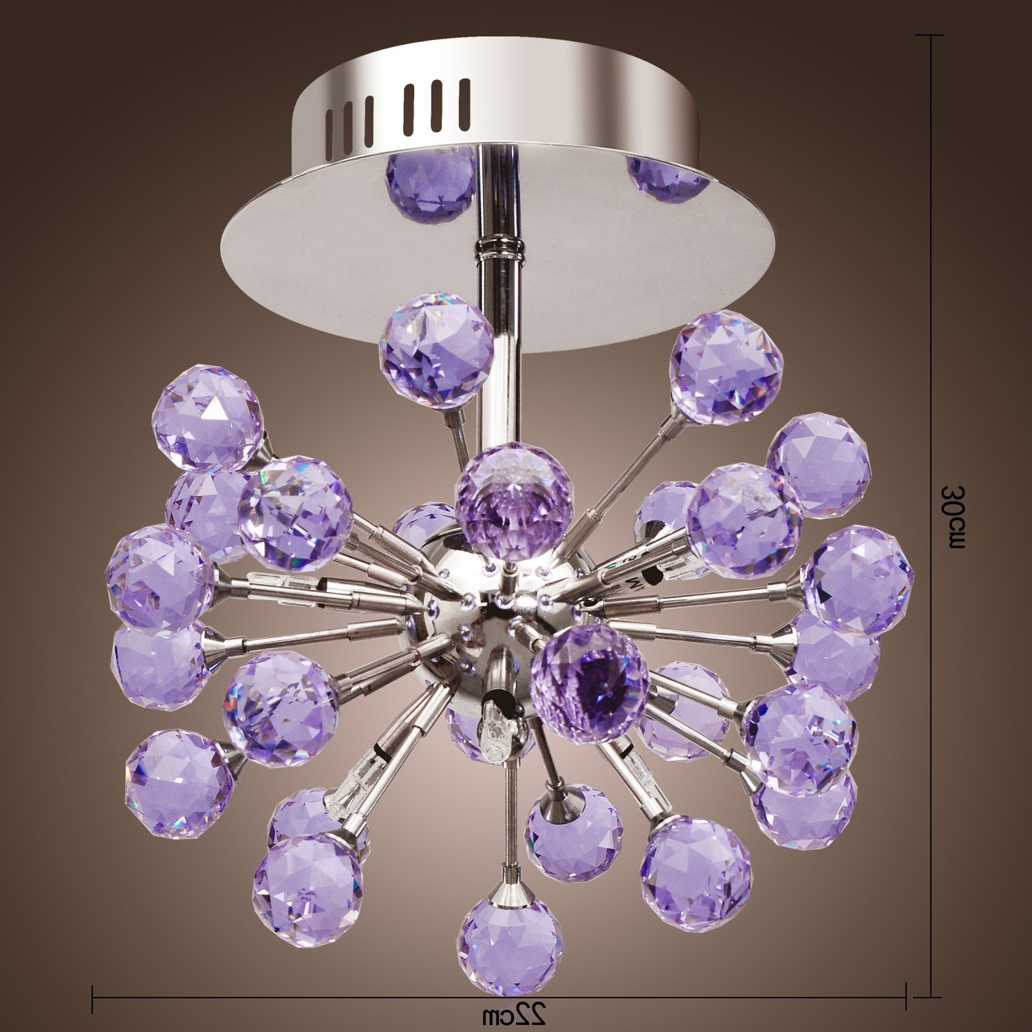 Lightinthebox 6 Light Floral Shape K9 Crystal Ceiling Light Purple With Regard To Widely Used Purple Crystal Chandeliers (View 6 of 15)