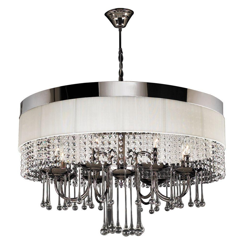 Linen Chandeliers Regarding Popular Plc Lighting 8 Light Black Chrome Chandelier With Off White Linen (View 11 of 15)