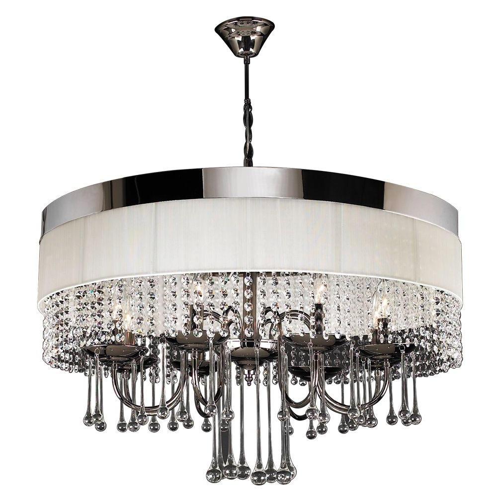 Linen Chandeliers Regarding Popular Plc Lighting 8 Light Black Chrome Chandelier With Off White Linen (View 5 of 15)