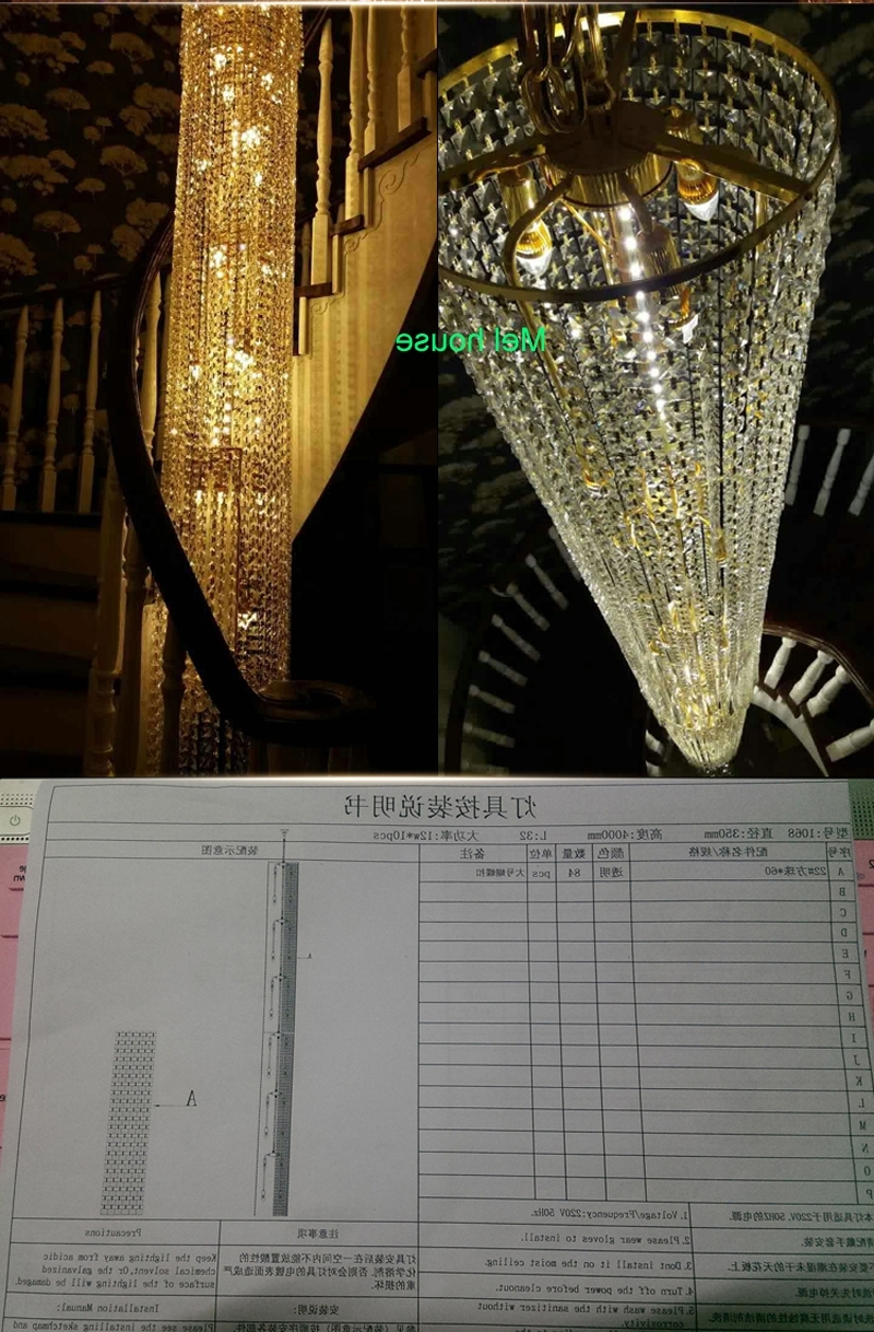 Long Chandelier Lighting within Recent Large Long Crystal Chandelier Light Lampada Led Fixtures Hotel