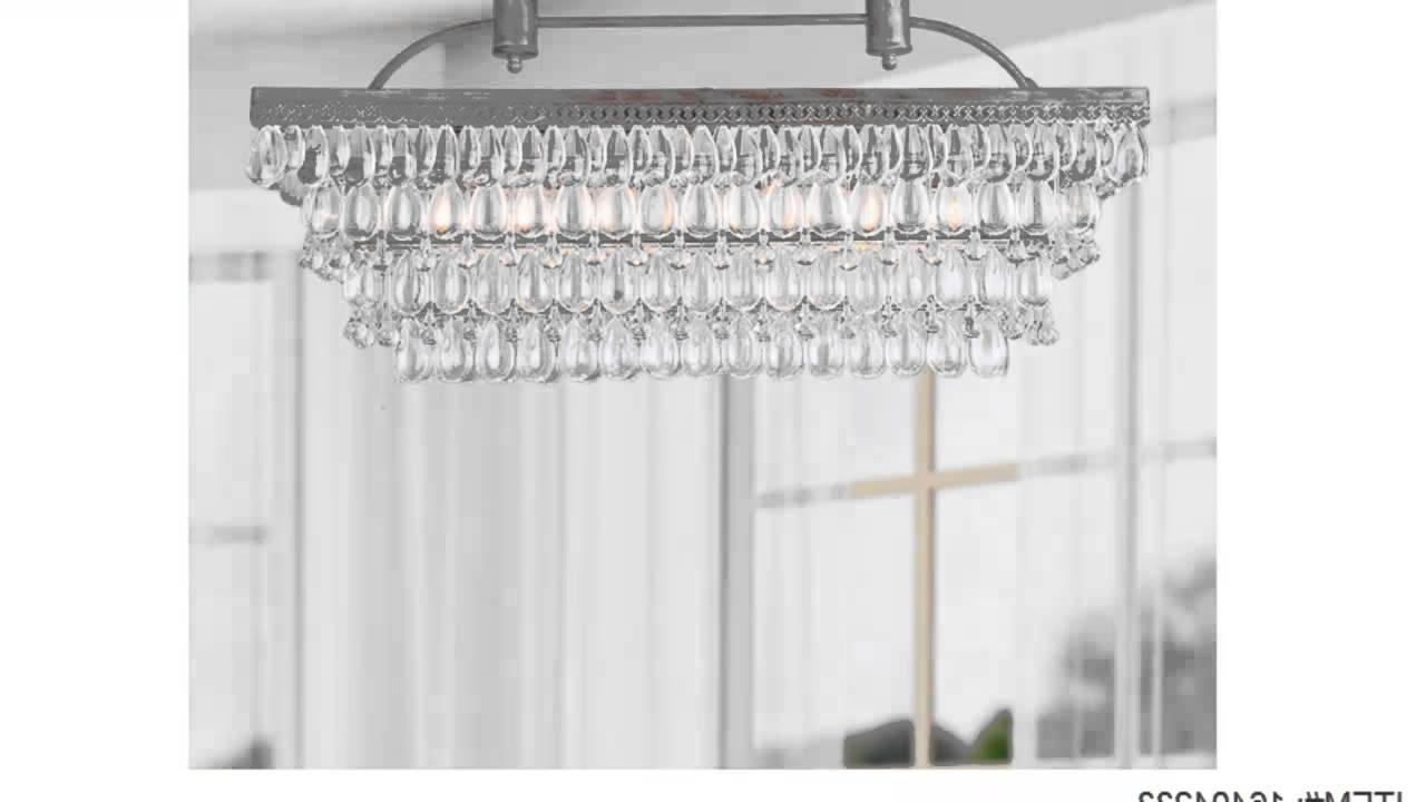 Low Price Antique Silver 6 Light Rectangular Glass Droplets For Well Known Glass Droplet Chandelier (View 6 of 15)