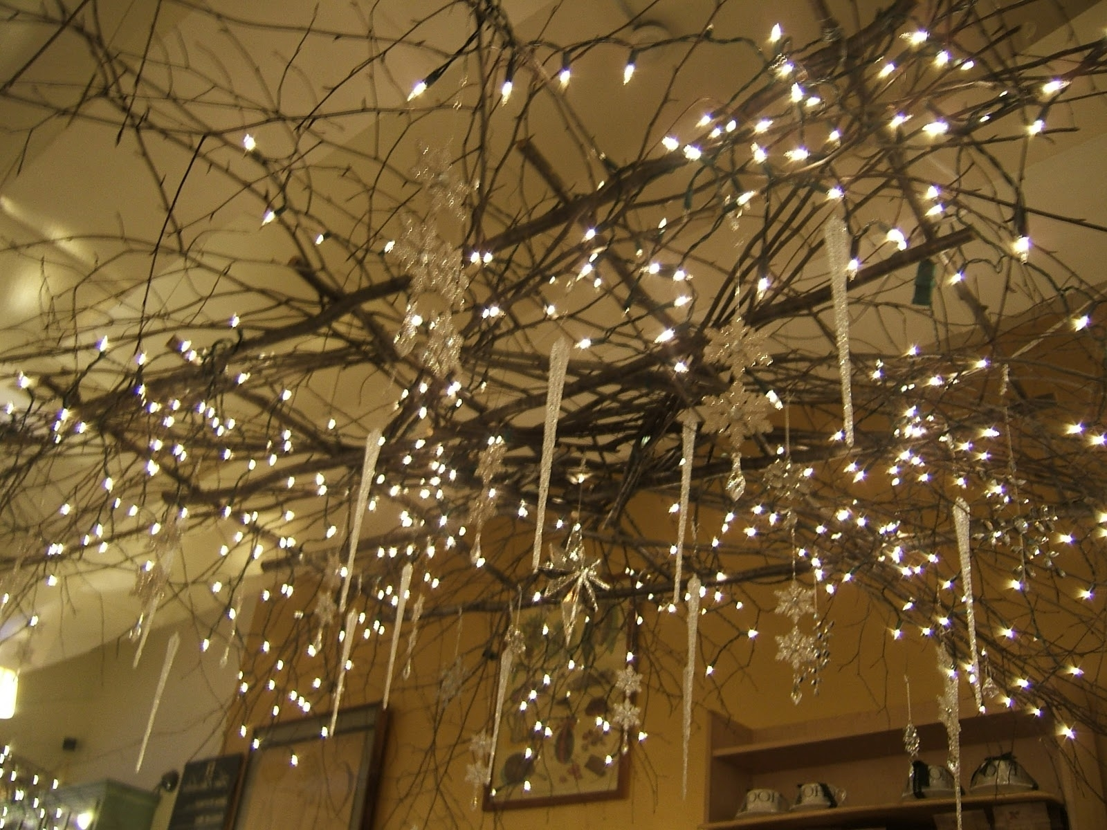 Lucinda Branch Chandelier Inside Trendy Sticks And Christmas Lights For Rustic Chandelier Hmmm Maybe In The (View 7 of 15)