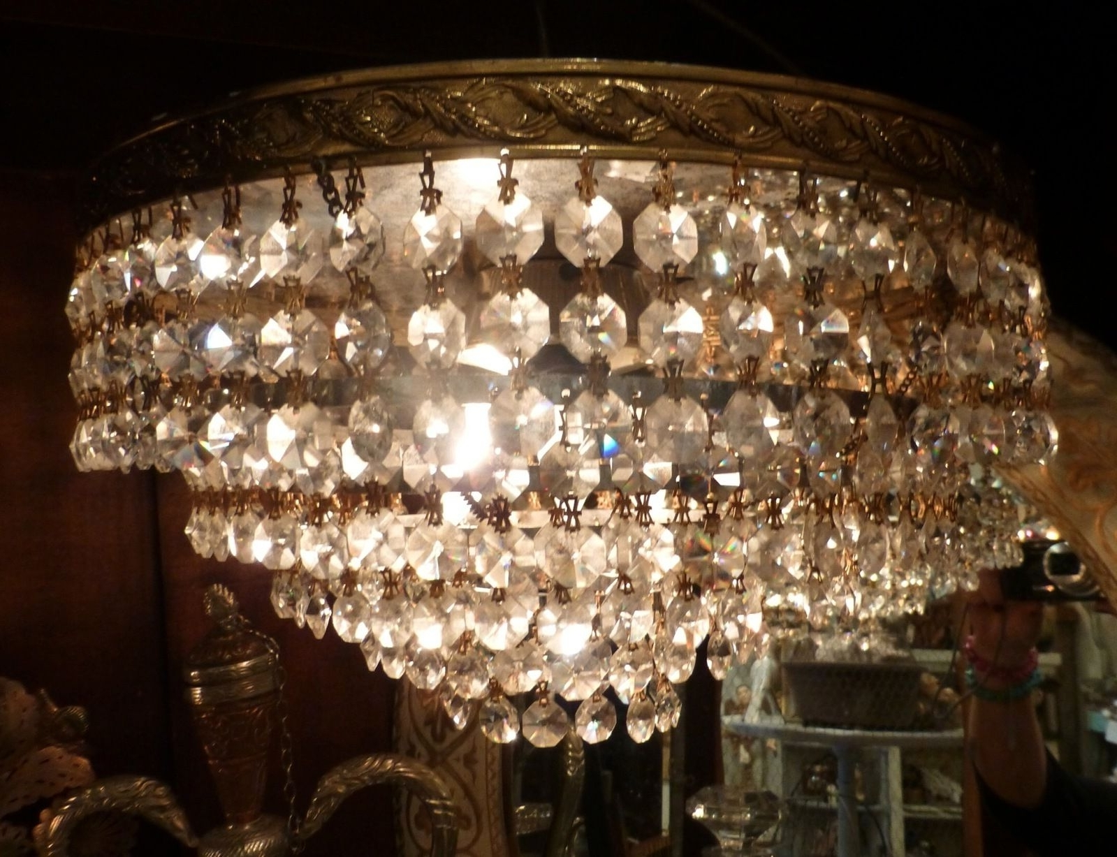 Lucinda Branch Chandelier Within Well Known Vintage Crystal European Chandelier Wedding Cake French Flush Mount (View 6 of 15)