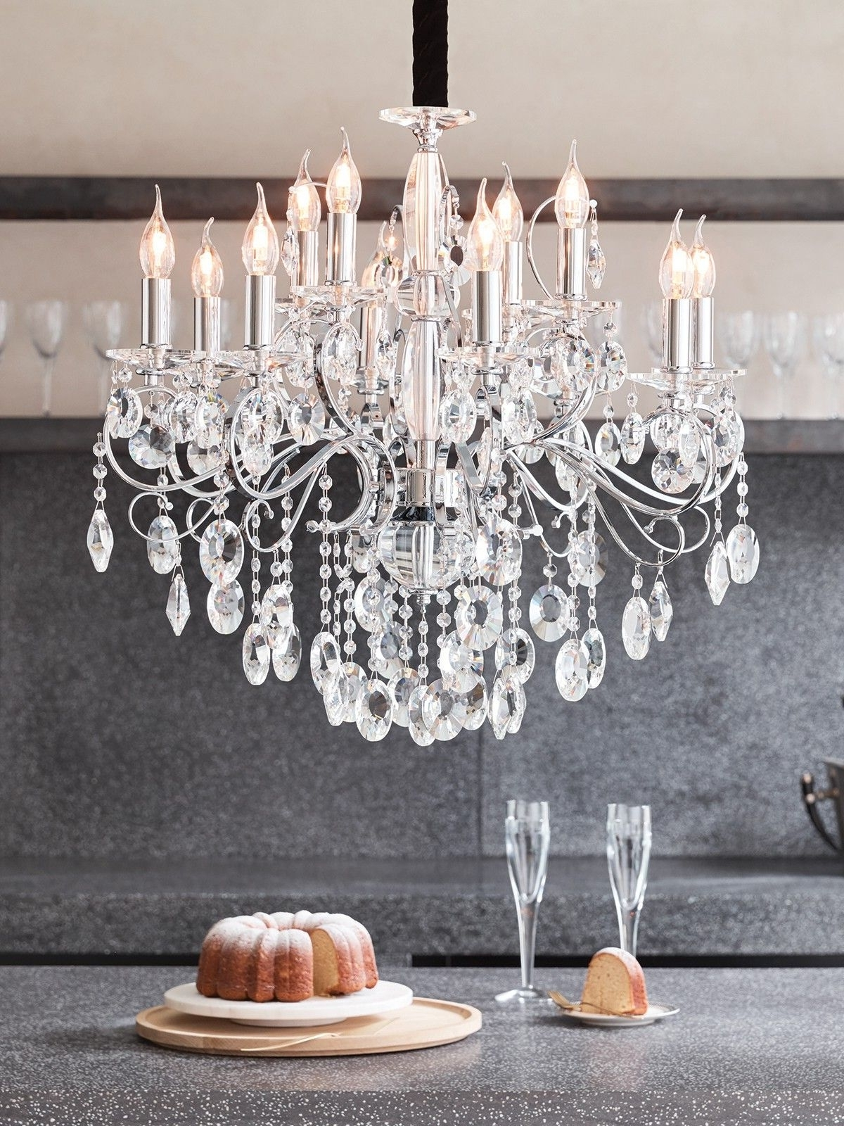 Madeleine 12 Light Egyptian Crystal Chandelier In Chrome (View 12 of 15)