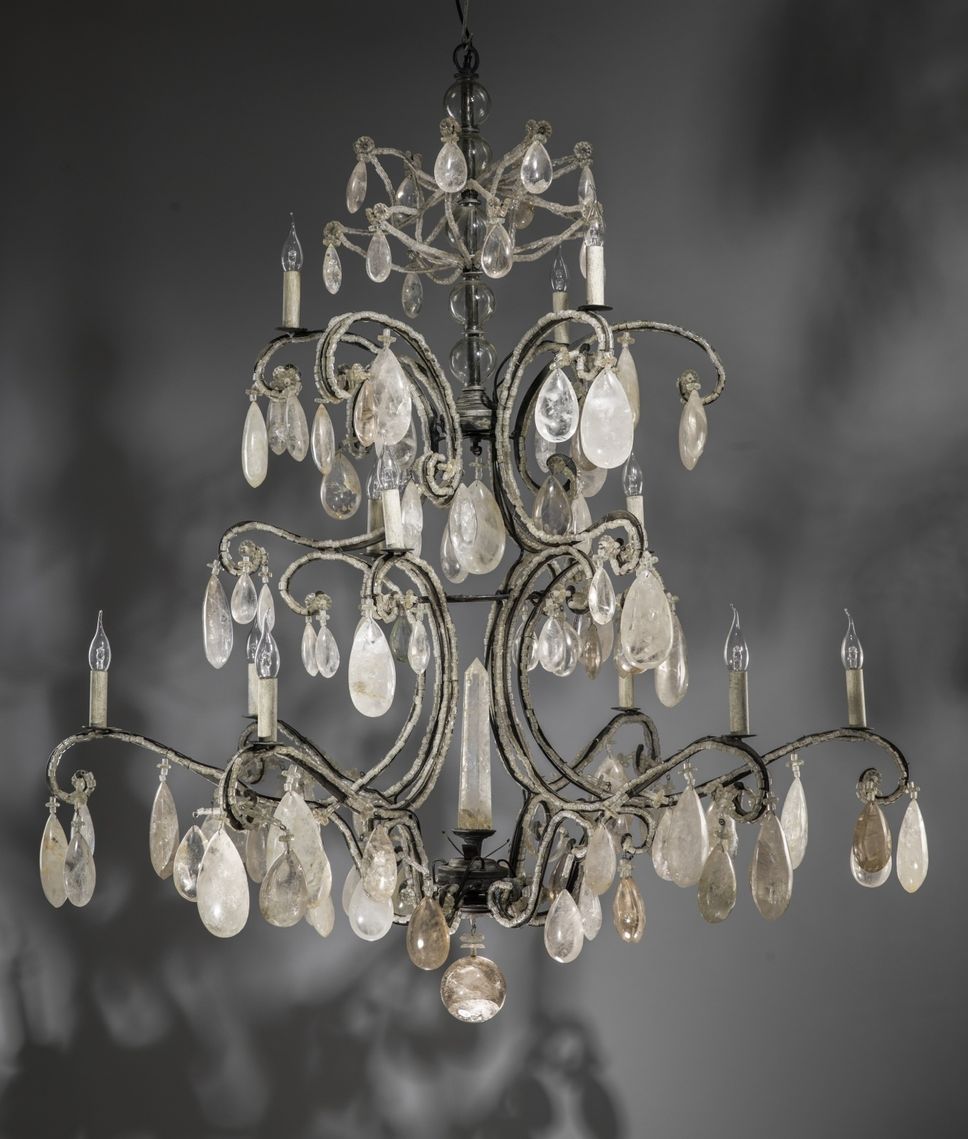 Massive Wrought Iron Rock Crystal Chandelier With 12 Lights (T3435 For Newest Massive Chandelier (View 10 of 15)