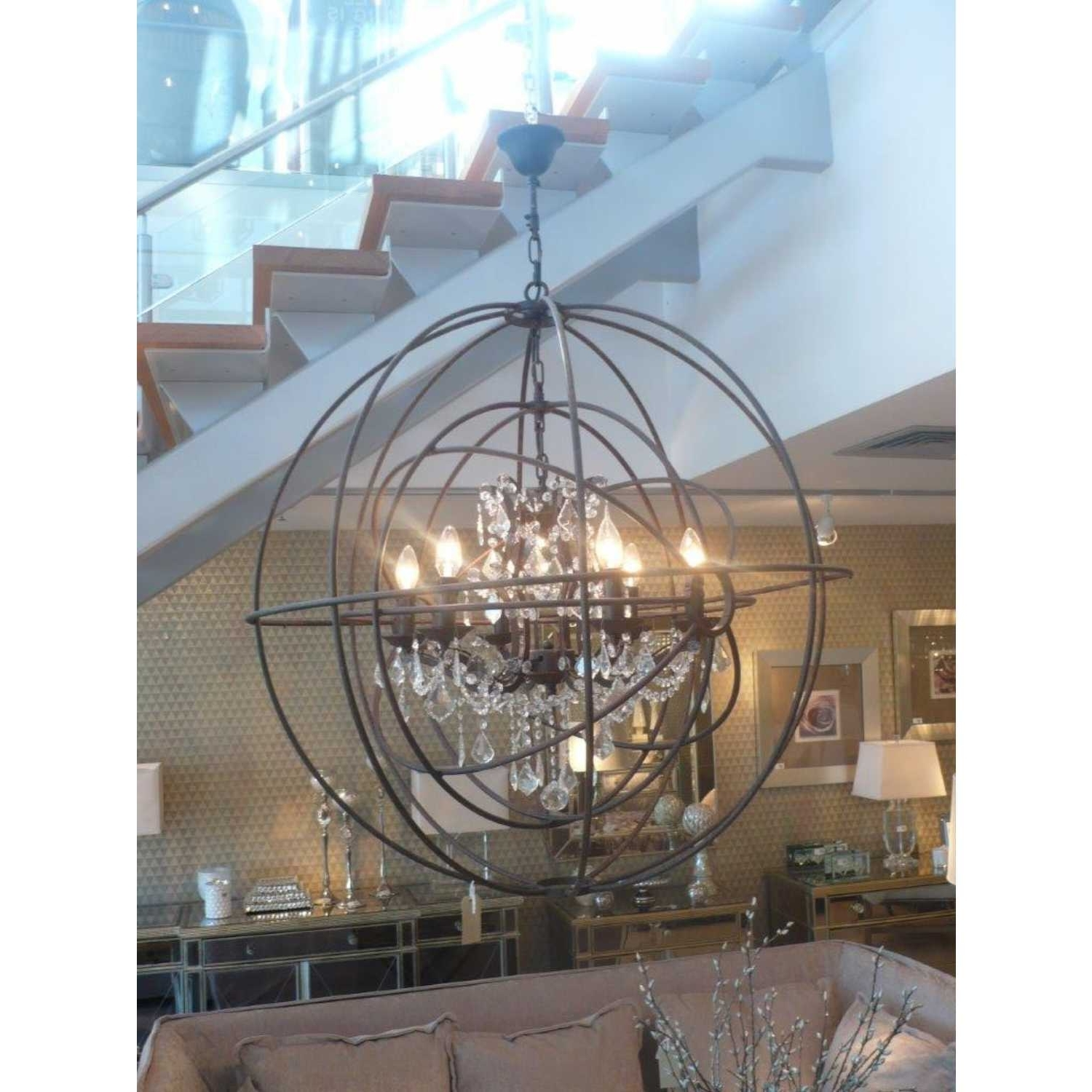Metal Sphere Chandelier Round Ceiling Light With Glass Crystals In Newest Metal Sphere Chandelier (View 2 of 15)