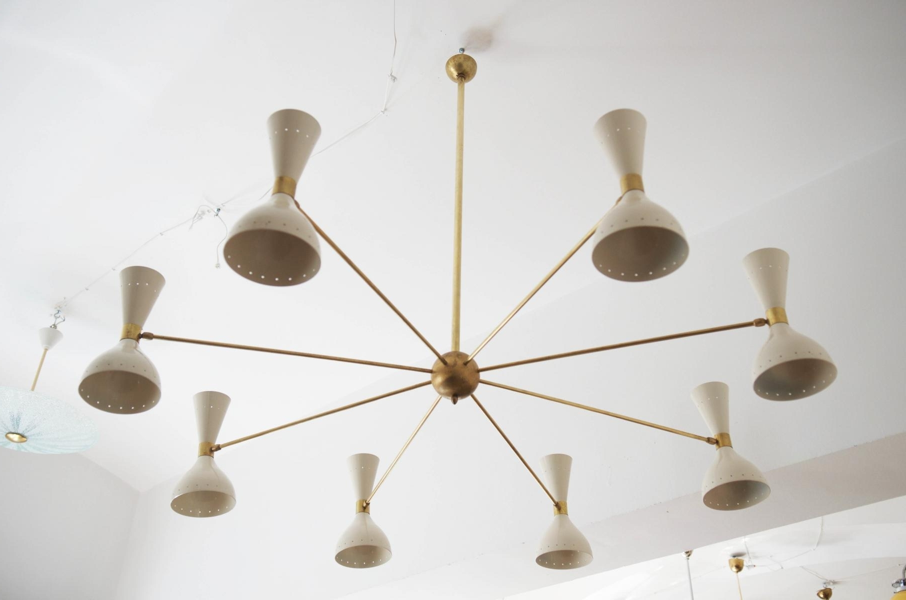 Mid Century Large Brass Chandelier, 1950S For Sale At Pamono Regarding Most Recent Large Brass Chandelier (View 9 of 15)