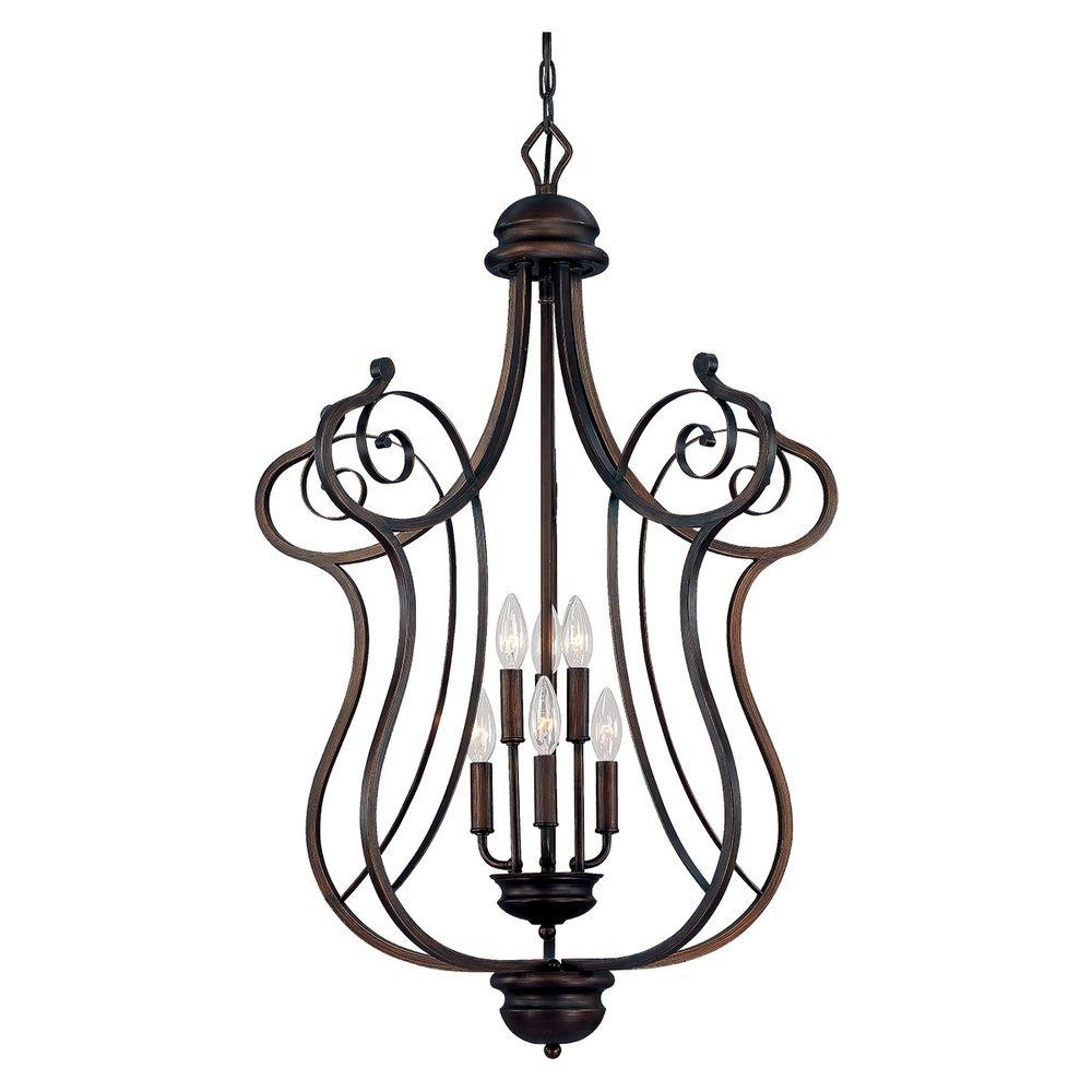 Millennium Lighting 6 Light Rubbed Bronze Chandelier With Turinian For Well Known Large Bronze Chandelier (View 4 of 15)