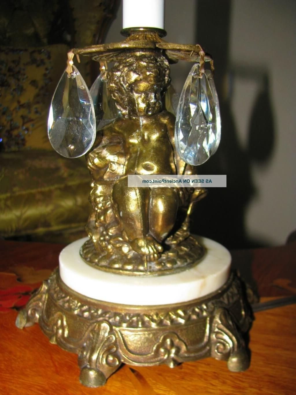 Mini Chandelier Table Lamps For Current Lighting: Antique Mini Chandelier Table Lamp With Brass Statue Base (View 8 of 15)